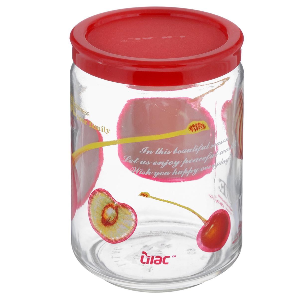 Банка для сыпучих продуктов Lilac, цвет: прозрачный, красный, 600 млLLS4600_прозрачный, красныйБанка для сыпучих продуктов Lilac изготовлена из прочного стекла и декорирована красочным рисунком. Банка оснащена плотно закрывающейся пластиковой крышкой. Благодаря этому внутри сохраняется герметичность и продукты дольше остаются свежими. Изделие предназначено для хранения различных сыпучих продуктов: круп, чая, сахара, орехов и многого другого. Функциональная и вместительная, такая банка станет незаменимым аксессуаром на любой кухне. Не рекомендуется мыть в посудомоечной машине. Диаметр (по верхнему краю): 6 см. Высота банки (без учета крышки): 12,5 см.