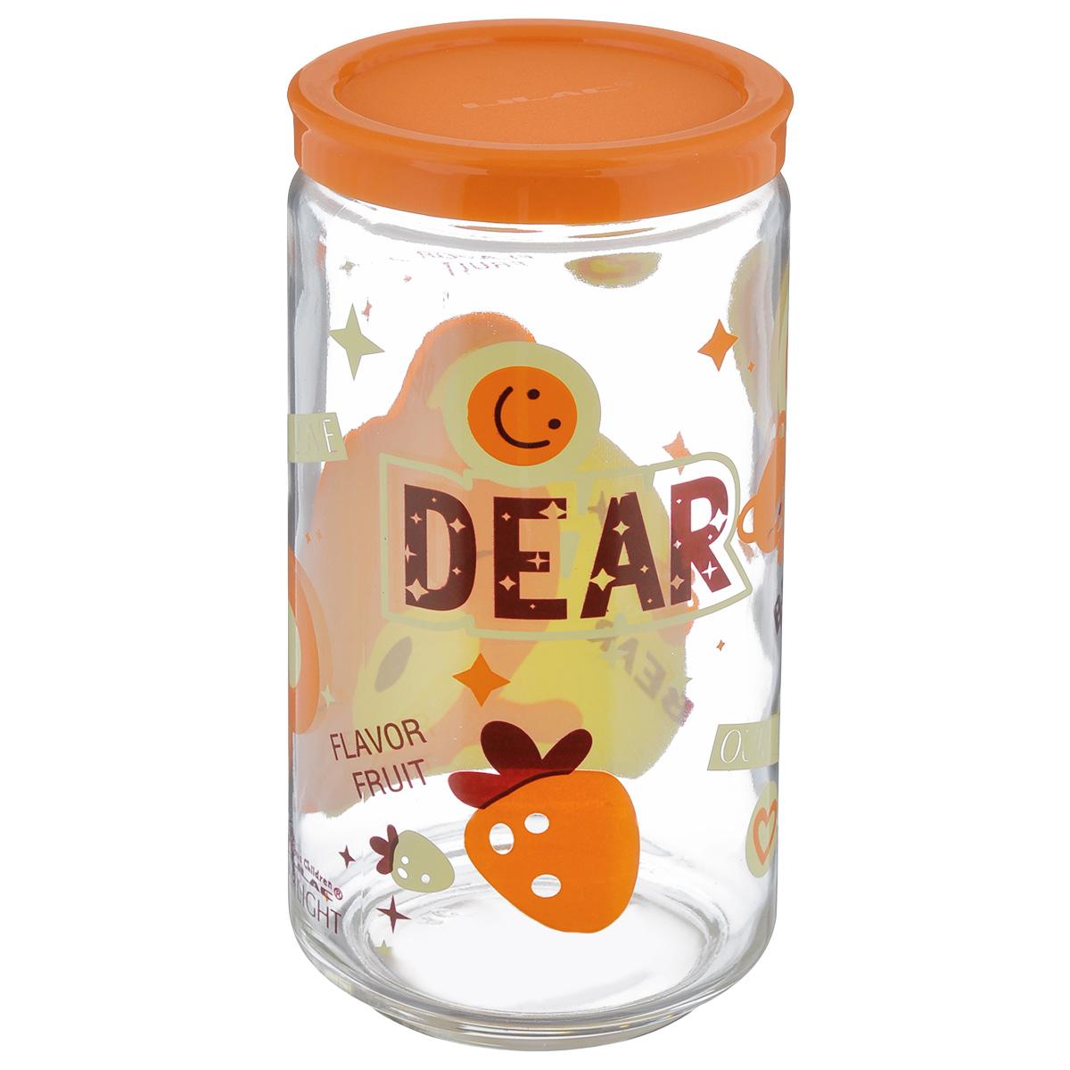 Банка для сыпучих продуктов Lilac, цвет: прозрачный, желтый, оранжевый, 800 млLLS4800_прозрачный, желтыйБанка для сыпучих продуктов Lilac изготовлена из прочного стекла и декорирована красочным рисунком. Банка оснащена плотно закрывающейся пластиковой крышкой. Благодаря этому внутри сохраняется герметичность, и продукты дольше остаются свежими. Изделие предназначено для хранения различных сыпучих продуктов: круп, чая, сахара, орехов и многого другого. Функциональная и вместительная, такая банка станет незаменимым аксессуаром на любой кухне. Не рекомендуется мыть в посудомоечной машине. Диаметр (по верхнему краю): 6 см. Высота банки (без учета крышки): 16,5 см.