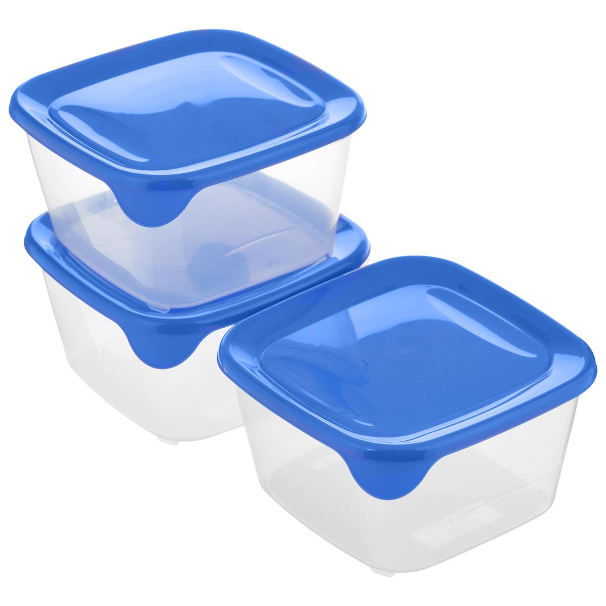 Набор контейнеров для СВЧ Curver Fresh & Go, цвет: синий, прозрачный, 1,2 л, 3 шт8560Набор Curver Fresh & Go состоит из 3 квадратных контейнеров с плотно закрывающимися цветными крышками. Предметы набора изготовлены из высококачественного пищевого пластика (BPA free), который выдерживает температуру от -40°С до +100°С. Стенки контейнеров прозрачные. Такой набор удобно брать с собой на работу, учебу, пикник или просто использовать для хранения пищи в холодильнике. Можно использовать в микроволновой печи и для заморозки в морозильной камере. Можно мыть в посудомоечной машине. Размер контейнера (без учета крышки): 15 х 15 х 8,2 см.