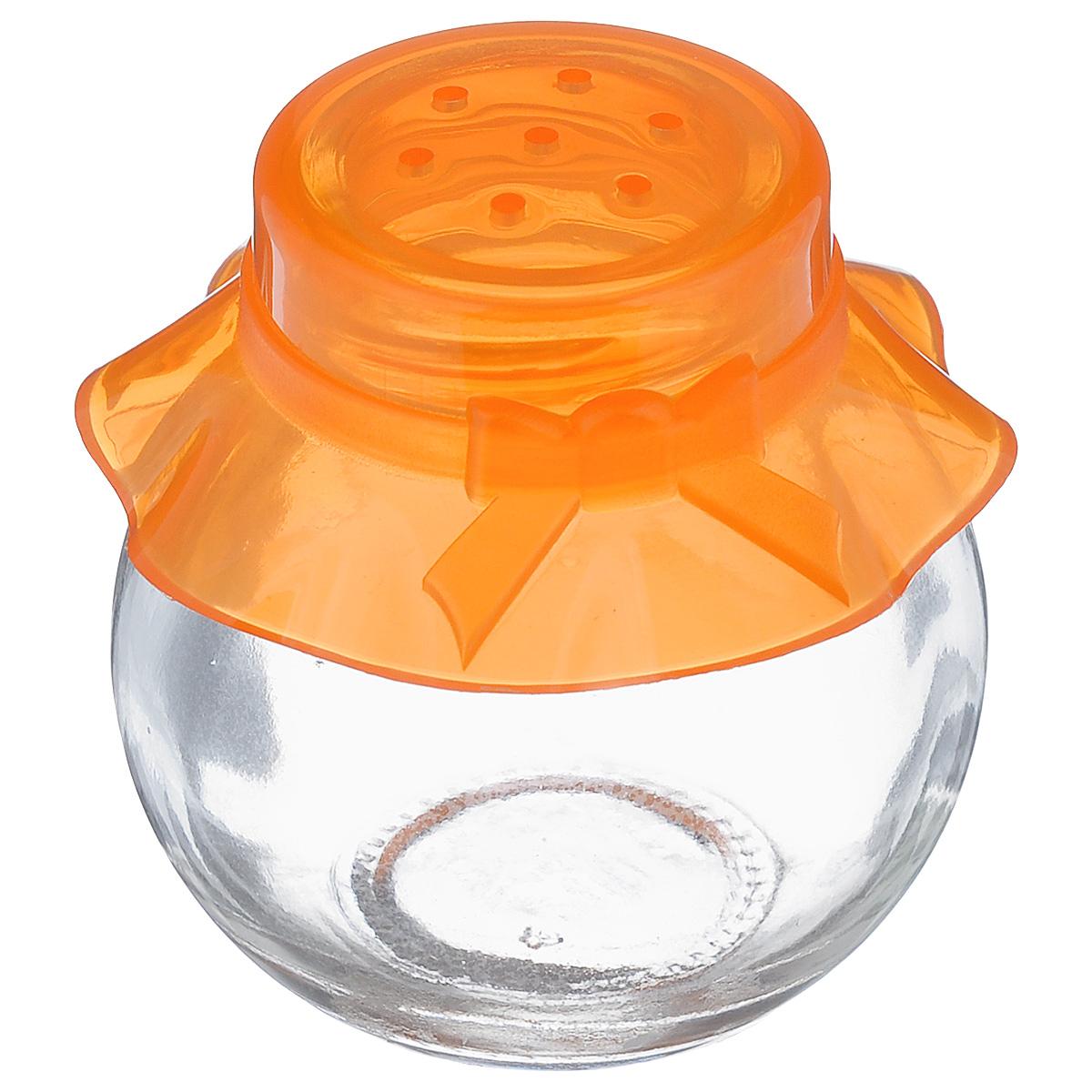 Банка для специй Herevin, цвет: прозрачный, оранжевый, 60 мл. 121051-000121051-000_оранжевыйБанка для специй Herevin выполнена из прозрачного стекла и оснащена пластиковой цветной крышкой с отверстиями, благодаря которым, вы сможете приправить блюда, просто перевернув банку. Крышка легко откручивается, благодаря чему засыпать приправу внутрь очень просто. Такая баночка станет достойным дополнением к вашему кухонному инвентарю. Можно мыть в посудомоечной машине. Объем: 60 мл. Диаметр (по верхнему краю): 2,5 см. Высота банки (без учета крышки): 5,5 см.