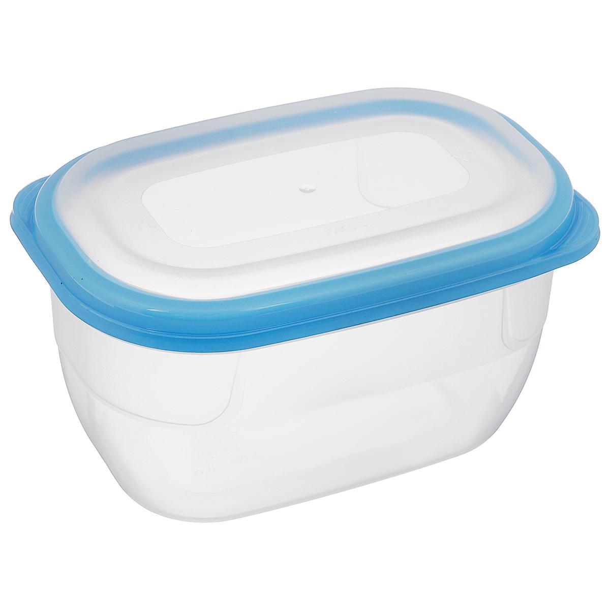 Контейнер для СВЧ Полимербыт Премиум, цвет: прозрачный, голубой, 750 млС561_голубойКонтейнер Полимербыт Премиум прямоугольной формы, изготовленный из прочного пластика, предназначен специально для хранения пищевых продуктов. Крышка легко открывается и плотно закрывается. Контейнер устойчив к воздействию масел и жиров, легко моется. Прозрачные стенки позволяют видеть содержимое. Контейнер имеет возможность хранения продуктов глубокой заморозки, обладает высокой прочностью. Можно мыть в посудомоечной машине. Контейнер подходит для использования в микроволновой печи без крышки, а также для заморозки в морозильной камере.