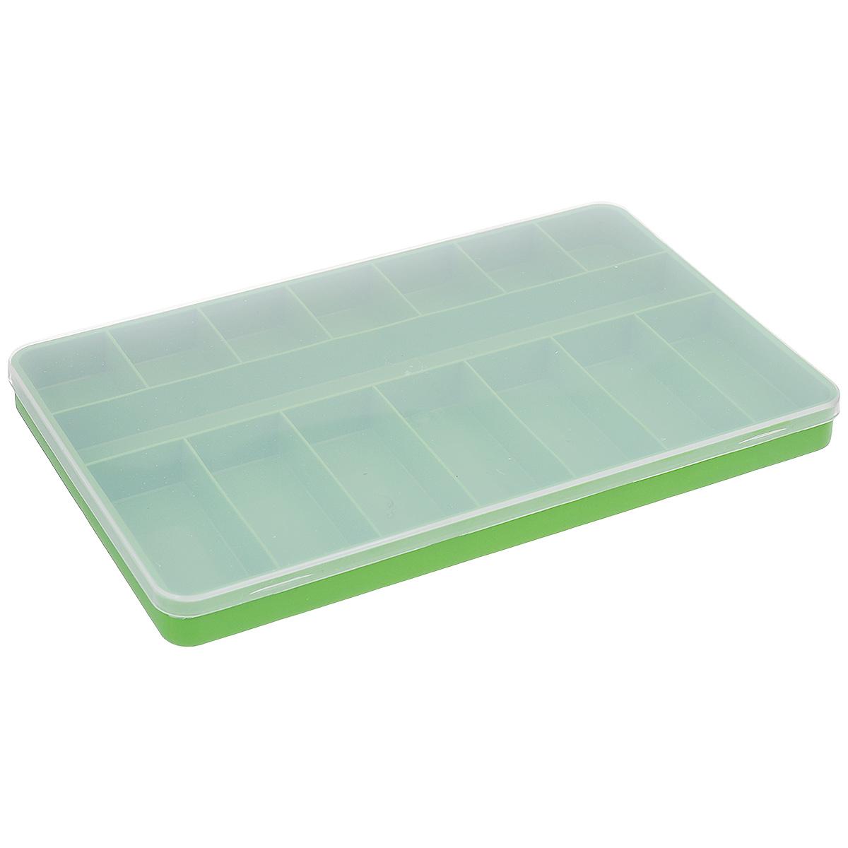 Коробка для мелочей Trivol, цвет: зеленый, прозрачный, 23,5 х 15 х 2 см23-15 аКоробка для мелочей Trivol изготовлена из высококачественного пластика. Прозрачная крышка позволяет видеть содержимое коробки. Изделие имеет 15 ячеек разного размера. Коробка прекрасно подойдет для хранения швейных принадлежностей, рыболовных снастей, мелких деталей и других бытовых мелочей. Удобный и надежный замок-защелка обеспечивает надежное закрывание крышки. Коробка легко моется и чистится. Такая коробка поможет держать вещи в порядке. Размер самой маленькой ячейки: 3,5 см х 4 см х 2 см. Размер самой большой ячейки: 22,5 см х 3 см х 2 см.