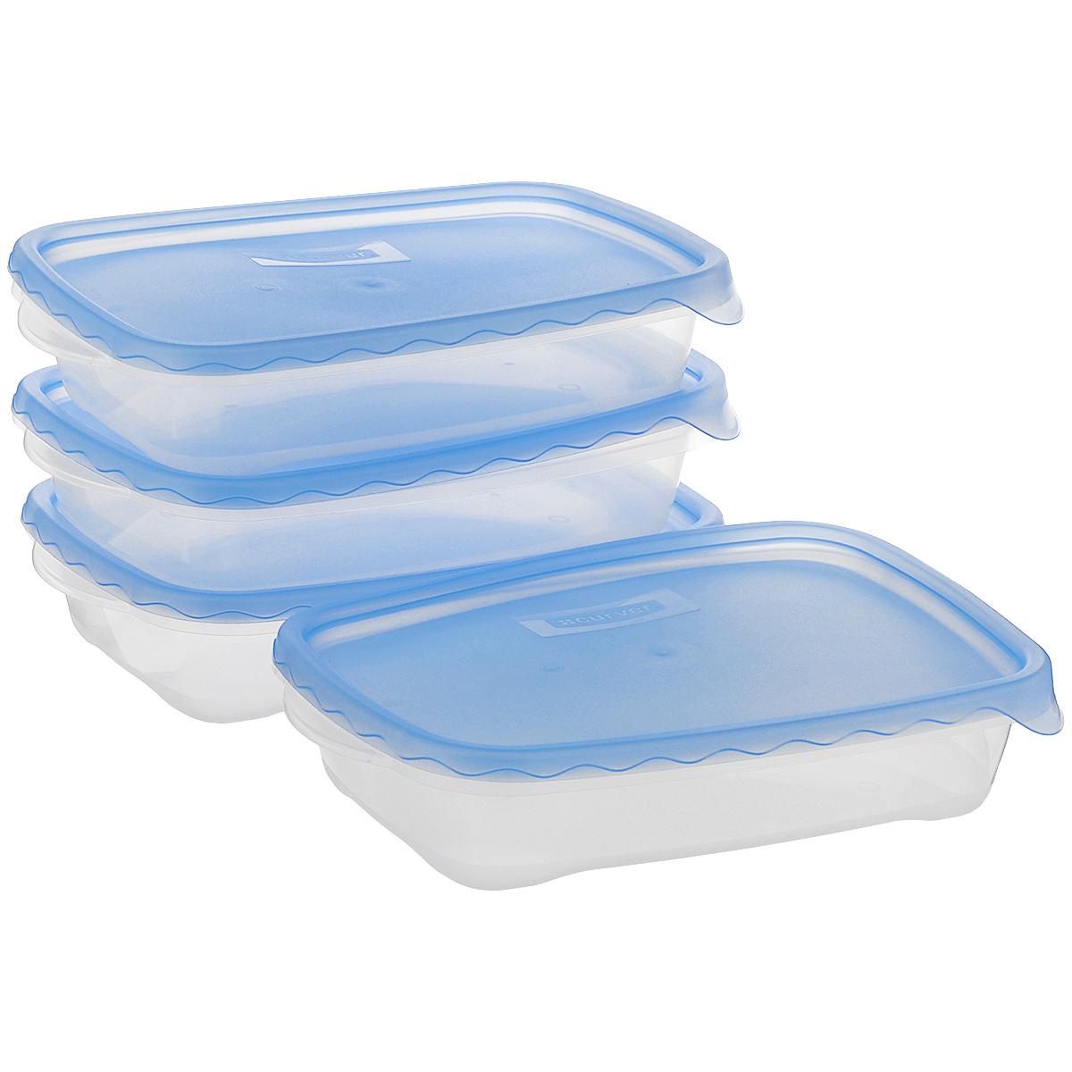 Набор контейнеров Curver Taky Away, цвет: прозрачный, голубой, 950 мл, 4 шт08324-001-06Набор Curver Taky Away состоит из четырех прямоугольных контейнеров, выполненных из пищевого пластика. Контейнеры вакуумные, что позволяет продлить свежесть продуктов, предотвратить рост бактерий и плесени, а также защитить содержимое от влаги. При этом сохраняется первоначальный вкус и аромат ингредиентов. Каждый контейнер снабжен удобной крышкой. Такие контейнеры очень функциональны. Их можно использовать дома для хранения пищи в холодильнике, а также для хранения разнообразных сыпучих продуктов, таких как кофе, крупы, соль, сахар. Контейнеры также удобно брать с собой на работу, учебу или в поездку. Набор подходит для использования в СВЧ, холодильнике и мытья в посудомоечной машине. Размер контейнера: 25 см х 16 см х 5 см.