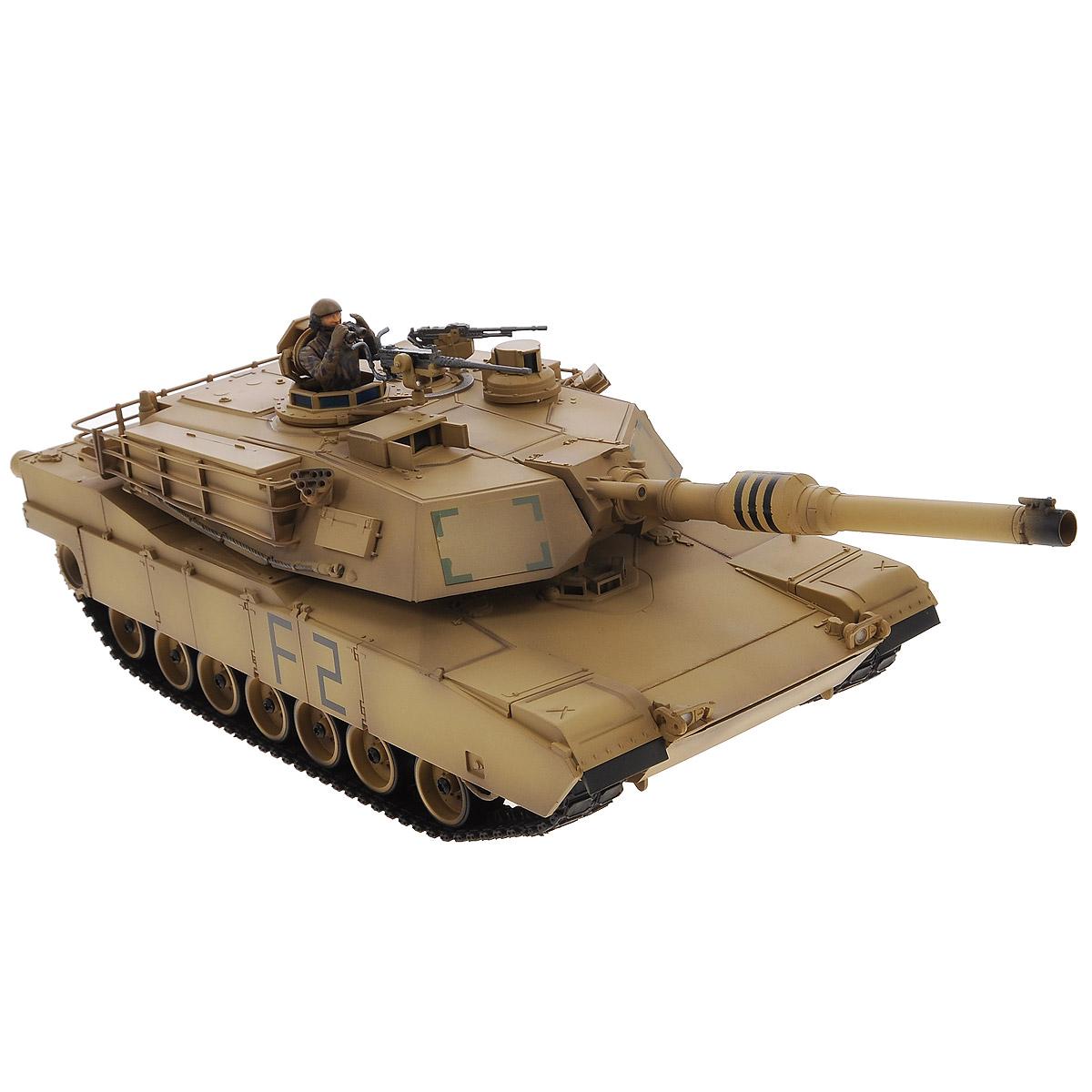 VSP Танк на радиоуправлении US M1A2 Abrams628432Радиоуправляемый танк VSP US M1A2 Abrams - это реалистичная коллекционная модель в масштабе 1/24. Она представляет собой уменьшенную копию американского основного танка, известного как M1 Абрамс. Эта модель серийно выпускается с 1980 года и стоит на вооружении армии и морской пехоты различных стран (США, Саудовская Аравия, Кувейт, Австралия). Пульт управления работает на частоте 2,4 ГГц и оснащен светодиодной подсветкой голубого цвета. Система Airsoft обеспечивает постоянное движение танка и стрельбу из пневматической пушки. Данная модель может стрелять мягкими (пневматическими) BB шариками, поэтому имеет возрастное ограничение от 14 лет. Благодаря работе на частоте 2,4 ГГц танк будет легко сопрягаться с пультом управления. Новые электронные схемы, примененные в этом пульте, позволяют принимать участие в игровых сражениях одновременно 16 танкам. Радиус управления заметно увеличился и составляет 40-50 метров на улице и 25-30 метров внутри ...