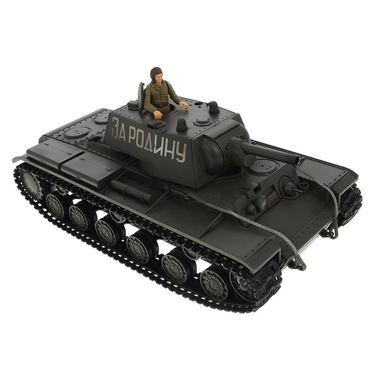 VSP Танк на радиоуправлении Soviet Red Army KV-1628433Радиоуправляемый танк VSP Soviet Red Army KV-1 - это реалистичная коллекционная модель в масштабе 1/24. Она представляет собой уменьшенную копию советского тяжелого танка времен Второй мировой войны, известного как КВ-1 (Клим Ворошилов). Эта модель танка производилась в 1939 - 1942-х годах, участвовала в Советско-Финской войне, и обладала мощной защитой для своего времени. Пульт управления работает на частоте 2,4 ГГц и оснащен светодиодной подсветкой голубого цвета. Система Airsoft обеспечивает постоянное движение танка и стрельбу из пневматической пушки. Данная модель может стрелять мягкими (пневматическими) BB шариками, поэтому имеет возрастное ограничение от 14 лет. Благодаря работе на частоте 2,4 ГГц танк будет легко сопрягаться с пультом управления. Новые электронные схемы, примененные в этом пульте, позволяют принимать участие в игровых сражениях одновременно 16 танкам. Радиус управления заметно увеличился и составляет 40-50 метров на...
