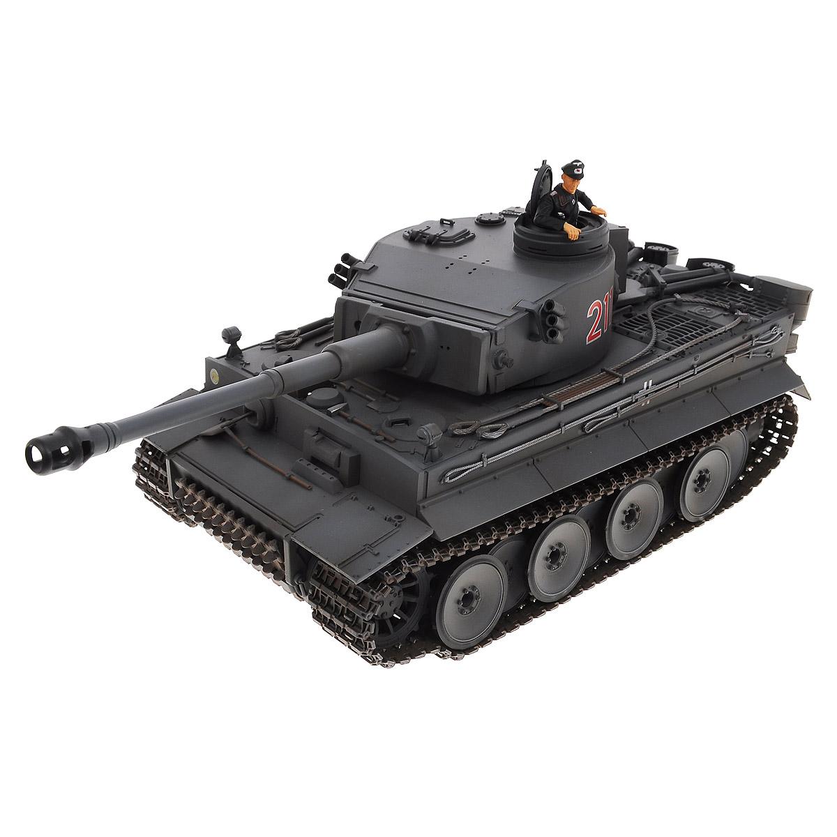 VSP Танк на радиоуправлении German Tiger I цвет черный628437Радиоуправляемый танк VSP German Tiger I - это современная коллекционная модель в масштабе 1/24. Она представляет собой уменьшенную копию легендарного тяжелого танка времен Второй мировой войны, известного как Тигр. Эта боевая машина была разработана и произведена в 1941-1942 годах фирмой Хеншель. Пульт управления работает на частоте 2,4 ГГц и оснащен светодиодной подсветкой голубого цвета. Система Airsoft обеспечивает постоянное движение танка и стрельбу из пневматической пушки. Данная модель может стрелять мягкими (пневматическими) BB шариками, поэтому имеет возрастное ограничение от 14 лет. Благодаря работе на частоте 2,4 ГГц танк будет легко сопрягаться с пультом управления. Новые электронные схемы, примененные в этом пульте, позволяют принимать участие в игровых сражениях одновременно 16 танкам. Радиус управления заметно увеличился и составляет 40-50 метров на улице и 25-30 метров внутри помещений. Для пульта управления...