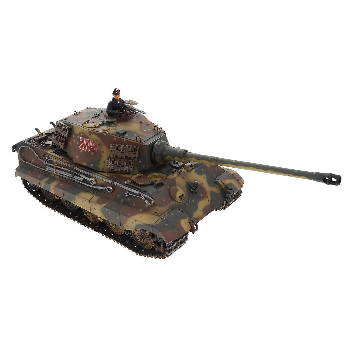 VSP Танк на радиоуправлении German King Tiger628435Радиоуправляемый танк VSP German King Tiger - это высокотехнологичная коллекционная модель в масштабе 1/24. Она представляет собой уменьшенную копию немецкого тяжелого танка времен Второй мировой войны, известного как Тигр II. Эта модель танка производилась в 1944 году и была мощнейшей серийной боевой машиной благодаря 88-мм пушке и надежной защите от противотанковых средств. Пульт управления работает на частоте 2,4 ГГц и оснащен светодиодной подсветкой голубого цвета. Система Airsoft обеспечивает постоянное движение танка и стрельбу из пневматической пушки. Данная модель может стрелять мягкими (пневматическими) BB шариками, поэтому имеет возрастное ограничение от 14 лет. Благодаря работе на частоте 2,4 ГГц танк будет легко сопрягаться с пультом управления. Новые электронные схемы, примененные в этом пульте, позволяют принимать участие в игровых сражениях одновременно 16 танкам. Радиус управления заметно увеличился и составляет 40-50 метров на...