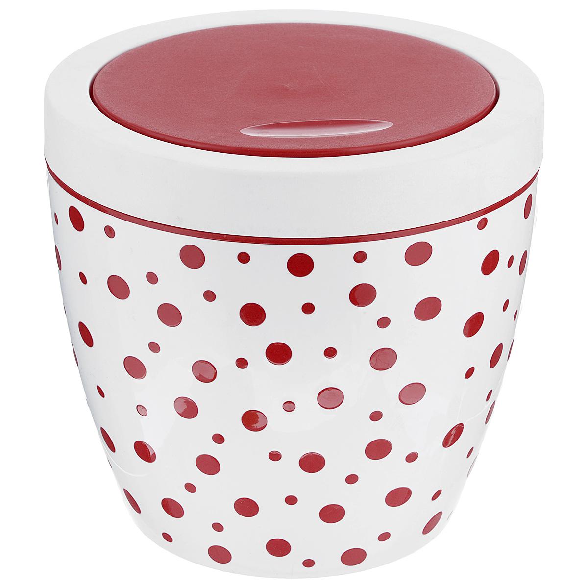 Контейнер для мусора Альтернатива Горошек, цвет: красный, белый, 7 лМ4345Контейнер для мусора Альтернатива Горошек изготовлен из прочного пластика. Внешние стенки оформлены принтом в горошек. Контейнер снабжен удобной поворачивающейся крышкой, прекрасно подходит для мусора. Такое изделие пригодится и дома, и в офисе. Стильный дизайн сделает его прекрасным украшением интерьера.