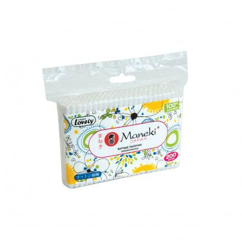 Maneki Палочки ватные гигиенические Lovely, с белым пластиковым стиком, упаковка с zip-замком 200 шт.