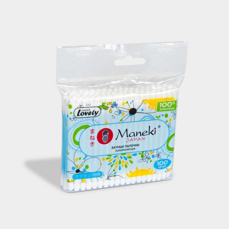 Maneki Палочки ватные гигиен Lovely, с голубым пластиковым стиком, в zip-пакете, 100 шт. ( CB913 )