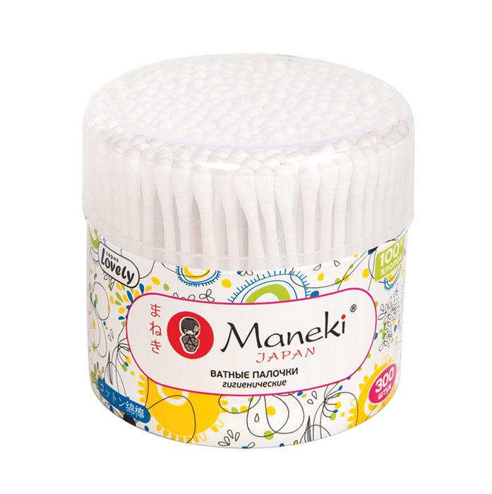 Maneki Палочки ватные гигиенические Lovely, с белым пластиковым стиком, в пластиковом стакане 300 шт.