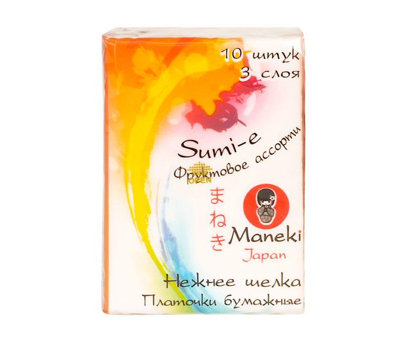 Maneki Платочки бумажные Sumi-e, 3 слоя, 10 шт. в пачке, с ароматом фруктовPT319Платочки бумажные из 100% целлюлозы в компактной упаковке с ароматом фруктов. Платочки мягкие и не вызывают раздражения кожи, приятны на ощупь. Инновационная структура обеспечивает непревзойденную впитываемость. В упаковке 10 штук, размер листа 210х210 мм