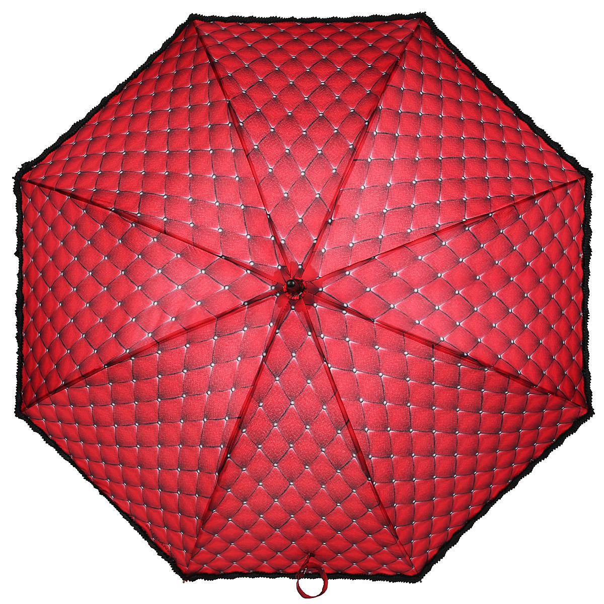 Зонт-трость Eleganzza, механический, женский, цвет: красный, черный. Т-06-0440T-06-0440Стильный зонт-трость Eleganzza с необычным дизайном произведен из высококачественных материалов. Каркас зонта изготовлен из восьми спиц из фибергласса, деревянного стержня и фигурной ручки из акрила в форме крюка. Купол зонтика выполнен из полиэстера с водоотталкивающей пропиткой и оформлен черной оборкой по краю. Закрытый купол фиксируется хлястиком на кнопке. Зонт механического сложения: купол открывается и закрывается вручную до характерного щелчка. Женский зонт Eleganzza не только выручит вас в ненастную погоду, но и станет ярким аксессуаром, который прекрасно дополнит ваш модный образ.