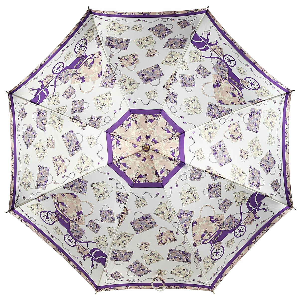 Зонт-трость Eleganzza, полуавтомат, женский, цвет: бежевый, фиолетовый. Т-06-0422T-06-0422Стильный зонт-трость Eleganzza с красочным дизайном произведен из высококачественных материалов. Каркас зонта изготовлен из восьми металлических спиц, стержня из стали и ручки из акрила в виде крюка. Купол зонтика выполнен из полиэстера с водоотталкивающей пропиткой и оформлен изображением дамских сумочек. Закрытый купол фиксируется хлястиком на кнопке. Зонт оснащен полуавтоматическим механизмом. Купол открывается нажатием кнопки на рукоятке, складывается зонт вручную до характерного щелчка. Женский зонт Eleganzza не только выручит вас в ненастную погоду, но и станет ярким аксессуаром, который прекрасно дополнит ваш модный образ.