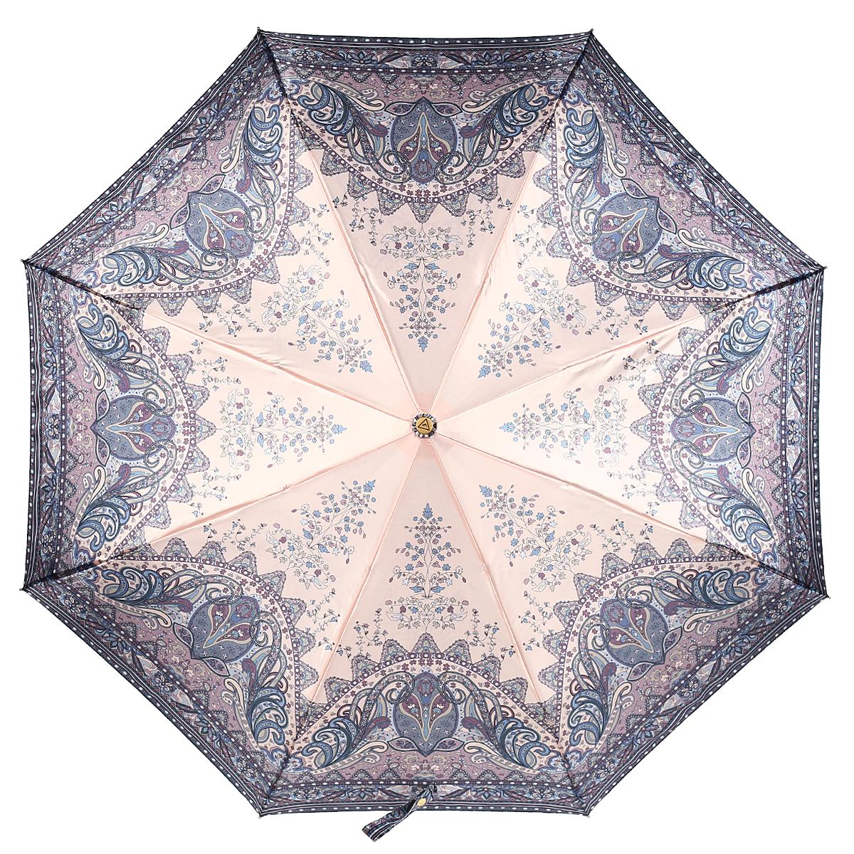 Зонт-автомат женский Fabretti, 3 сложения, цвет: бежевый, сиреневый. S-15102-4Fabretti S-15102-4Классический зонт торговой марки Fabretti, произведенный из качественных материалов, идеально подойдет для девушек и женщин любых возрастов. Купол зонтика выполнен из полиэстера, обработанного водоотталкивающей пропиткой, и оформлен изящным орнаментом. Каркас зонта выполнен из восьми металлических спиц, стержня и ручки с полиуретановым покрытием, разработанной с учетом требований эргономики. Зонт оснащен полным автоматическим механизмом в три сложения. Купол открывается и закрывается нажатием кнопки на рукоятке, благодаря чему открыть и закрыть зонт можно одной рукой, что чрезвычайно удобно при входе в транспорт или помещение, стержень складывается вручную до характерного щелчка. На рукоятке для удобства есть небольшой шнурок-резинка, позволяющий надеть зонт на руку тогда, когда это будет необходимо. Компактные размеры зонта в сложенном виде позволят ему без труда поместиться в сумочке и не доставят никаких проблем во время переноски. Зонт поставляется в...