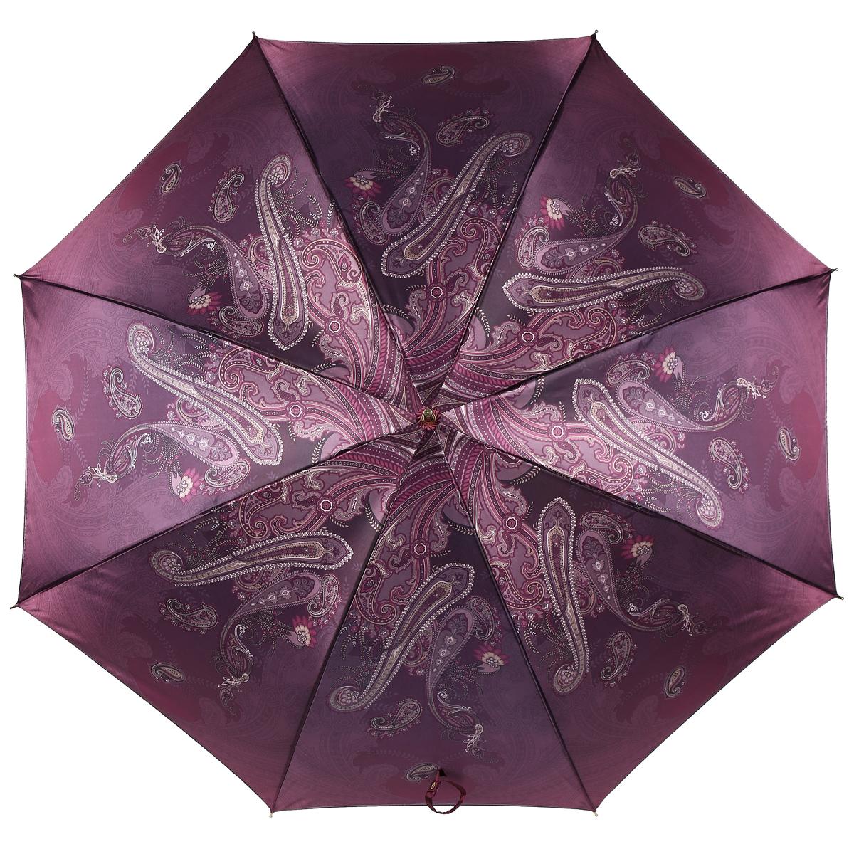 Зонт-трость Fabretti, полуавтомат, женский, цвет: бордовый. 1506Fabretti 1506Полуавтоматический зонт-трость Fabretti, выполненный из качественных материалов, идеально подойдет для девушек и женщин любых возрастов. Каркас зонта изготовлен из восьми металлических спиц, стержня и ручки из прозрачного пластика. Купол зонтика изготовлен из полиэстера, обработанного водоотталкивающей пропиткой, и оформлен изящным орнаментом. Закрытый купол фиксируется хлястиком на кнопке. Зонт оснащен полуавтоматическим механизмом. Купол открывается нажатием кнопки на рукоятке, складывается зонт вручную до характерного щелчка. Женский зонт Fabretti даже в ненастную погоду позволит вам оставаться стильной и элегантной.