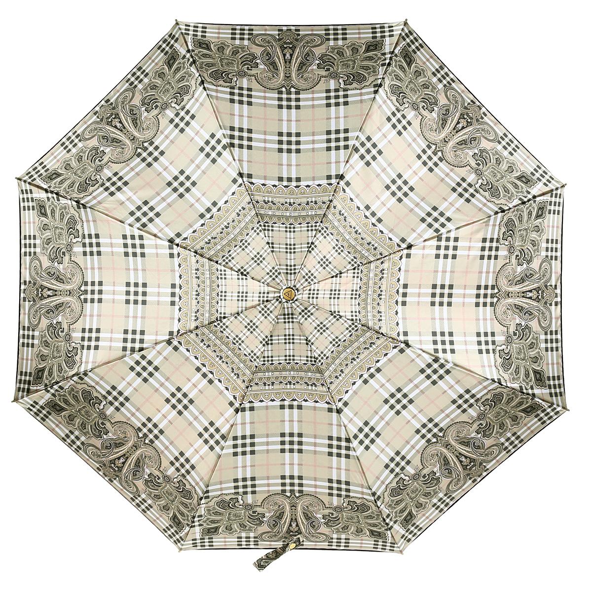 Зонт-автомат женский Fabretti, 3 сложения, цвет: бежевый. S-15102-5Fabretti S-15102-5Классический зонт торговой марки Fabretti, изготовленный из качественных материалов, идеально подойдет для девушек и женщин любых возрастов. Купол зонтика выполнен из полиэстера, обработанного водоотталкивающей пропиткой, и оформлен стильным орнаментом. Каркас зонта изготовлен из восьми металлических спиц, стержня и ручки с полиуретановым покрытием, разработанной с учетом эргономических требований. Зонт оснащен полным автоматическим механизмом в три сложения. Купол открывается и закрывается нажатием кнопки на рукоятке, благодаря чему открыть и закрыть зонт можно одной рукой, что чрезвычайно удобно при входе в транспорт или помещение, стержень складывается вручную до характерного щелчка. Рукоятка зонта для удобства оснащена шнурком-резинкой, позволяющим при необходимости надеть зонт на руку. Компактные размеры зонта в сложенном виде позволят ему без труда поместиться в сумочке. Зонт поставляется в чехле на молнии. Женский зонт Fabretti не только...