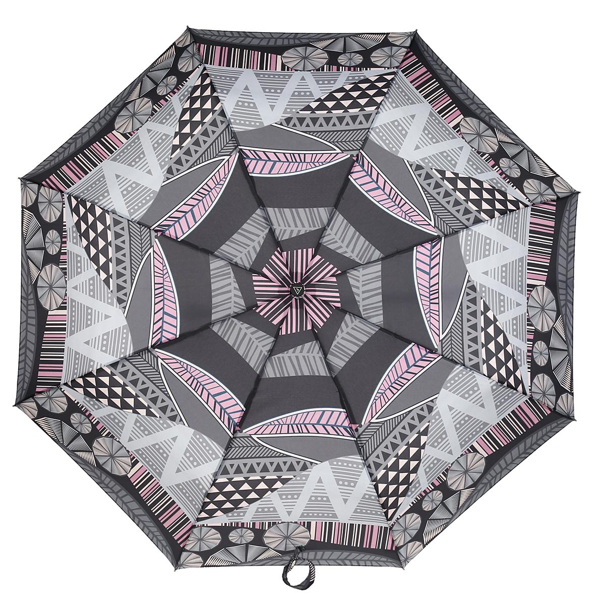 Зонт-автомат женский Fabretti, 3 сложения, цвет: серый, розовый. L-15113-1Fabretti L-15113-1Автоматический зонт торговой марки Fabretti, произведенный из качественных материалов, станет стильным аксессуаром для девушек и женщин любых возрастов. Купол зонтика выполнен из полиэстера, обработанного водоотталкивающей пропиткой, и оформлен необычным орнаментом. Каркас зонта изготовлен из восьми металлических спиц, стержня и ручки с полиуретановым покрытием, разработанной с учетом эргономических требований. Зонт оснащен автоматическим механизмом в три сложения. Купол открывается и закрывается нажатием кнопки на рукоятке, благодаря чему открыть и закрыть зонт можно одной рукой, что очень удобно при входе в транспорт или помещение, стержень складывается вручную до характерного щелчка. Рукоятка зонта для удобства оснащена шнурком, позволяющим при необходимости надеть зонт на руку. Благодаря компактным размерам зонта в сложенном виде, можно без труда поместить его в сумочку. Зонт поставляется в чехле. Женский зонт Fabretti не только выручит вас...