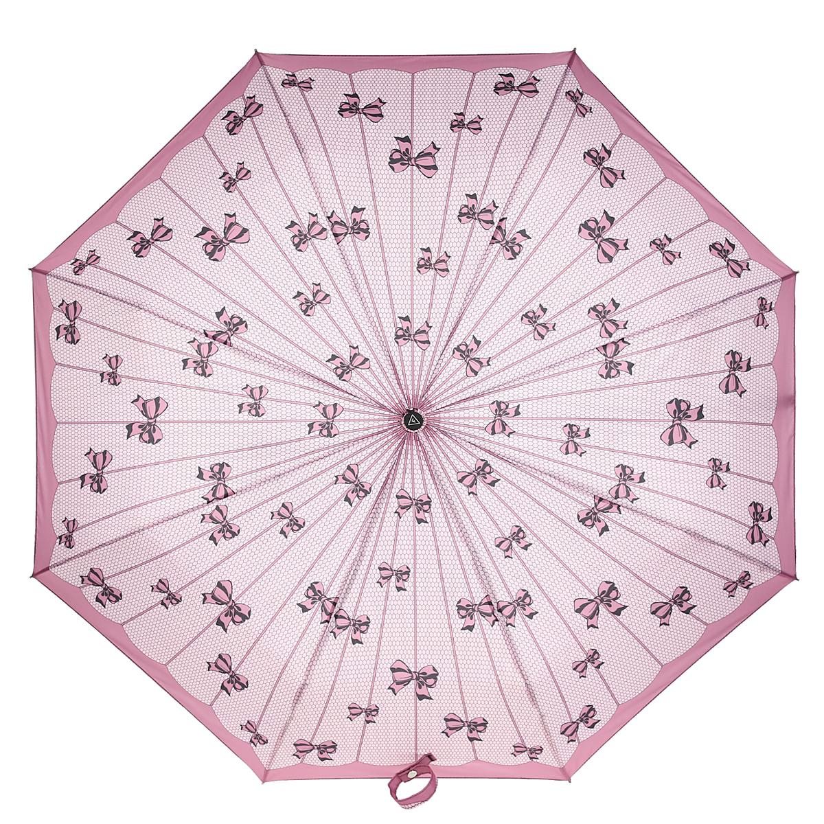 Зонт-автомат женский Fabretti, 3 сложения, цвет: розовый. L-15114-6Fabretti L-15114-6Автоматический зонт торговой марки Fabretti, произведенный из качественных материалов, станет стильным аксессуаром для девушек и женщин любых возрастов. Купол зонтика выполнен из полиэстера, обработанного водоотталкивающей пропиткой, и оформлен орнаментом в виде милых бантиков. Каркас зонта изготовлен из восьми металлических спиц, стержня и ручки с полиуретановым покрытием, разработанной с учетом эргономических требований. Зонт оснащен автоматическим механизмом в три сложения. Купол открывается и закрывается нажатием кнопки на рукоятке, благодаря чему открыть и закрыть зонт можно одной рукой, что очень удобно при входе в транспорт или помещение, стержень складывается вручную до характерного щелчка. Рукоятка зонта для удобства оснащена шнурком, позволяющим при необходимости надеть зонт на руку. Благодаря компактным размерам зонта в сложенном виде, можно без труда поместить его в сумочку. Зонт поставляется в чехле. Женский зонт Fabretti не только...