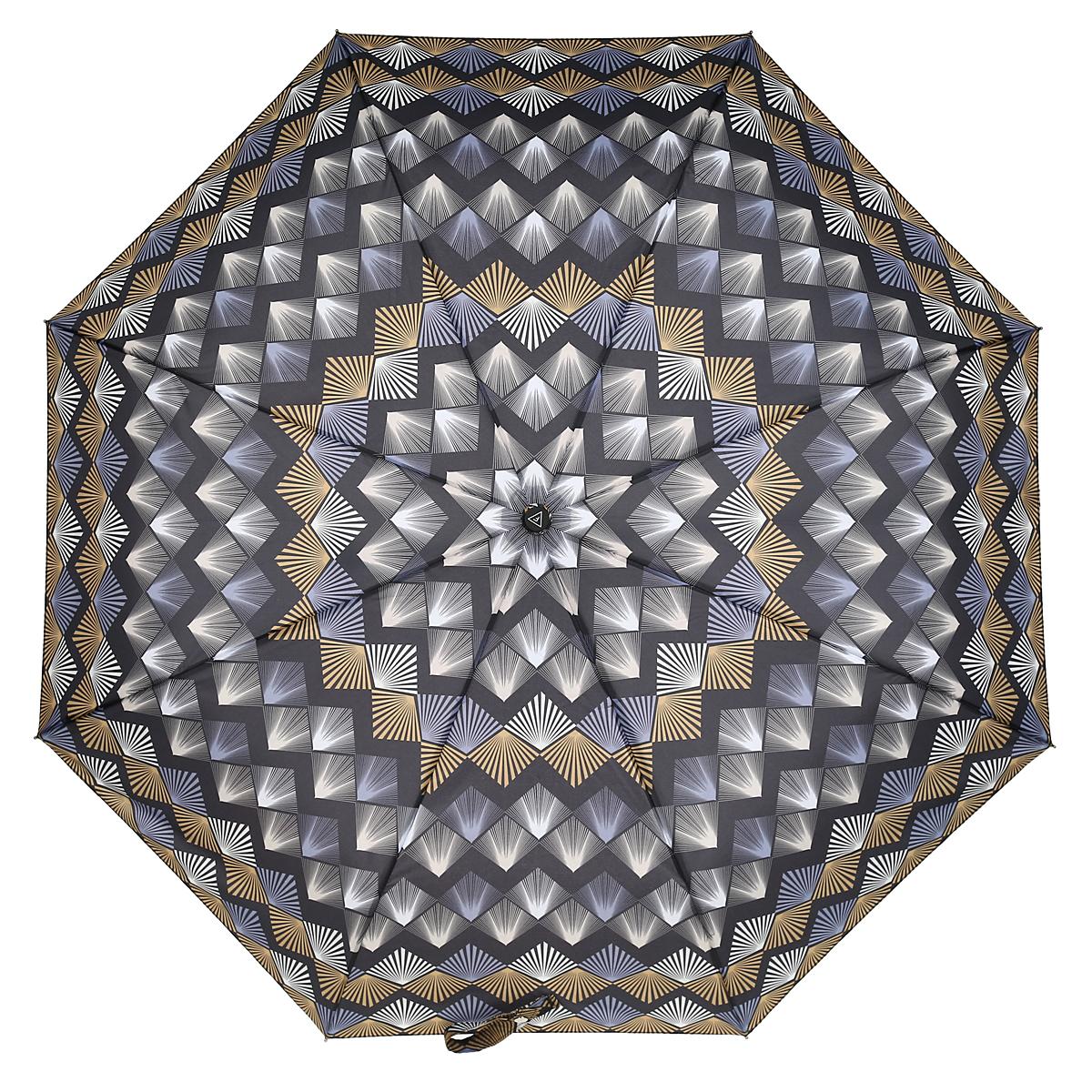 Зонт-автомат женский Fabretti, 3 сложения, цвет: черный, серый, желтый. L-15114-1Fabretti L-15114-1Автоматический зонт торговой марки Fabretti, произведенный из качественных материалов, станет стильным аксессуаром для девушек и женщин любых возрастов. Купол зонтика выполнен из полиэстера, обработанного водоотталкивающей пропиткой, и оформлен ярким орнаментом. Каркас зонта изготовлен из восьми металлических спиц, стержня и ручки с полиуретановым покрытием, разработанной с учетом эргономических требований. Зонт оснащен автоматическим механизмом в три сложения. Купол открывается и закрывается нажатием кнопки на рукоятке, благодаря чему открыть и закрыть зонт можно одной рукой, что очень удобно при входе в транспорт или помещение, стержень складывается вручную до характерного щелчка. Рукоятка зонта для удобства оснащена шнурком, позволяющим при необходимости надеть зонт на руку. Благодаря компактным размерам зонта в сложенном виде, можно без труда поместить его в сумочку. Зонт поставляется в чехле. Женский зонт Fabretti не только выручит вас в...