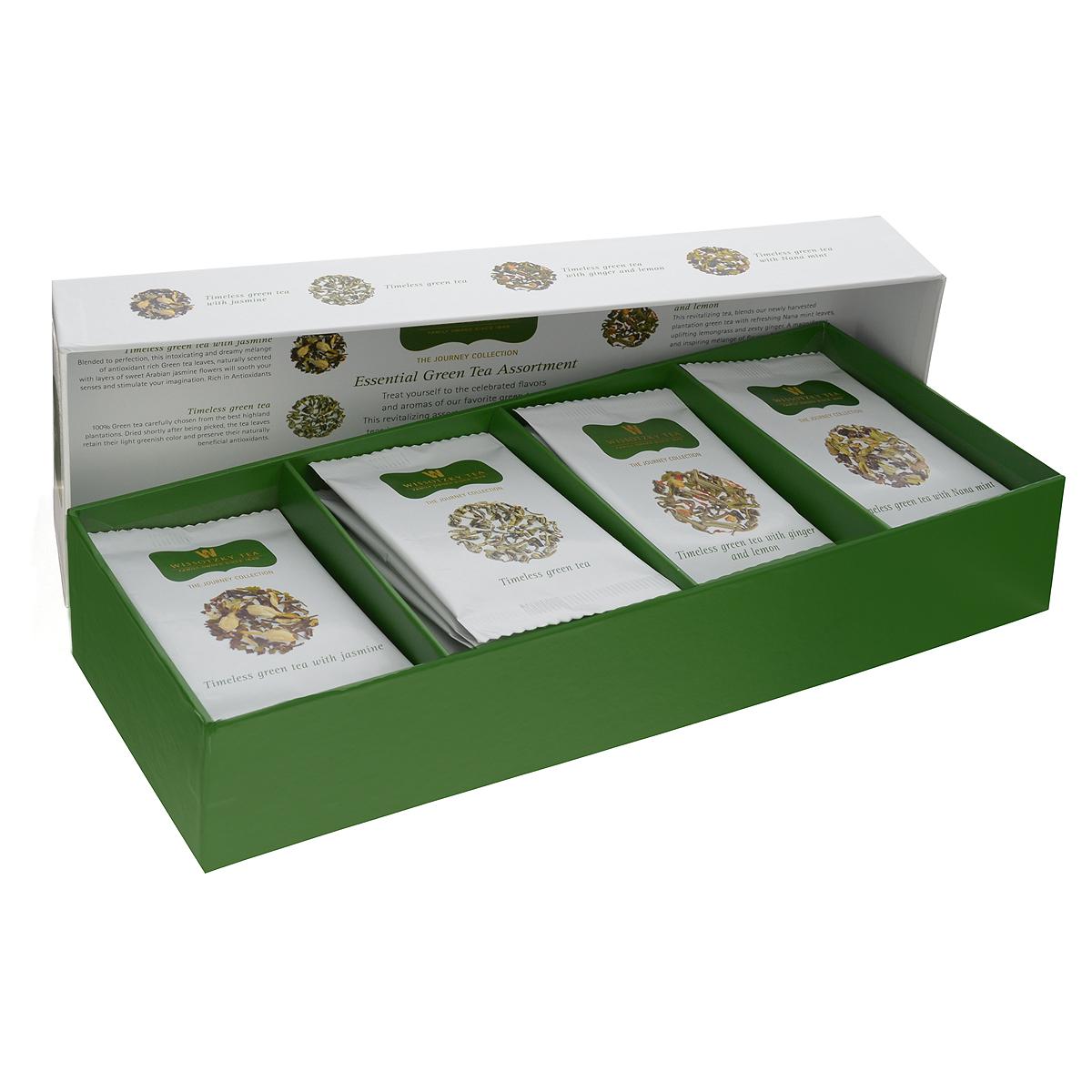 Wissotzky Essential Green Tea зеленый чай в пакетиках, 32 шт (4 вкуса)41519951020Wissotzky Essential Green Tea - чайный набор, который содержит32 шелковых пакетика зеленого чая, богатого антиоксидантами. Включает в себя: 8 пакетиков со вкусом классического зеленого чая с жасмином (Timeless Green Tea and Jasmine) 8 пакетиков со вкусом классического зеленого чая (Timeless Green Tea) 8 пакетиков со вкусом классического зеленого чая с нана мятой (Timeless Green Tea with Nana Mint) 8 пакетиков со вкусом классического зеленого чая с имбирем и лимоном (Timeless Green Tea with Ginger and Lemon) Термоупаковка каждого пакетика позволяет сохранить свежесть и невероятный аромат чая. Не содержит металлической скрепки.