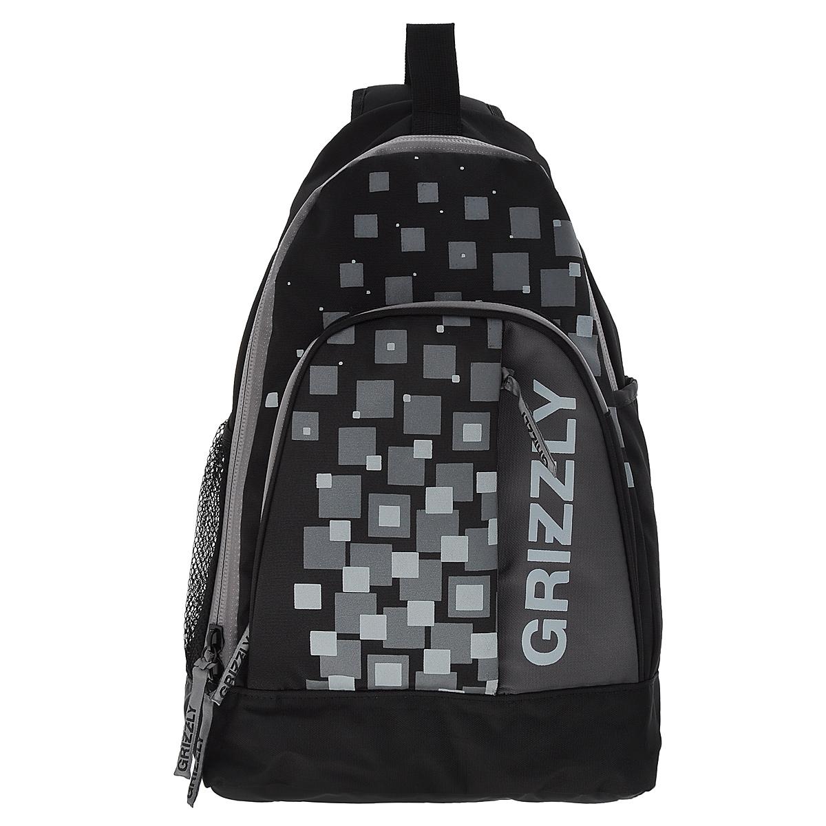 Рюкзак городской Grizzly, цвет: черный, серый, 24 л. RU-510-2/3RU-510-2/3Рюкзак Grizzly - это удобный и практичный рюкзак, изготовленный из полиэстера. Рюкзак имеет одно главное отделение, которое закрывается на застежку-молнию. Внутри основного отделения - карман на липучке и карман на застежке-молнии. По бокам рюкзака - два кармана, один из которых - сетчатый на резинке. На передней панели - вместительный карман на застежке-молнии с четырьмя небольшими кармашками внутри для письменных принадлежностей. Также на вместительном кармане расположен еще один потайной карман на застежке-молнии. Модель имеет укрепленную спинку с мягкой рельефной вставкой и одну лямку, а также ручку-петлю. Лямка оснащена мини-карманом на застежке-молнии для разных небольших мелочей и аксессуаров. Такой рюкзак - практичное и стильное приобретение на каждый день.