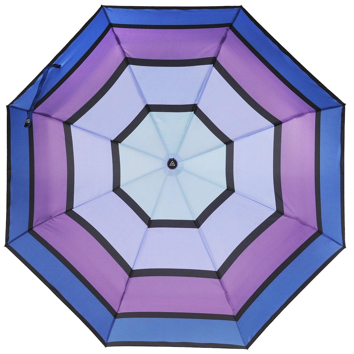 Зонт-автомат женский Fabretti, 3 сложения, цвет: сиреневый, фиолетовый, синий. L-15113-4Fabretti L-15113-4Классический зонт торговой марки Fabretti, выполненный из качественных материалов, идеально подойдет для девушек и женщин любых возрастов. Купол зонтика изготовлен из полиэстера, обработанного водоотталкивающей пропиткой, и оформлен принтом в виде полоски. Каркас зонта выполнен из восьми металлических спиц, стержня и ручки с полиуретановым покрытием, разработанной с учетом требований эргономики. Зонт оснащен полным автоматическим механизмом в три сложения. Купол открывается и закрывается нажатием кнопки на рукоятке, благодаря чему открыть и закрыть зонт можно одной рукой, что чрезвычайно удобно при входе в транспорт или помещение, стержень складывается вручную до характерного щелчка. На рукоятке для удобства есть небольшой шнурок, позволяющий надеть зонт на руку тогда, когда это будет необходимо. Компактные размеры зонта в сложенном виде позволят ему без труда поместиться в сумочке и не доставят никаких проблем во время переноски. К зонту прилагается...