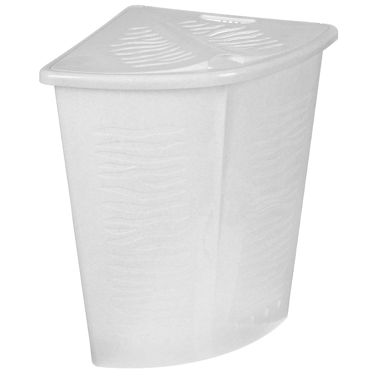Корзина для белья BranQ Зебра, угловая, цвет: белый, 40 лПЦ1700Корзина для белья BranQ Зебра изготовлена из прочного пластика. Корзина пропускает воздух, устойчива к перепадам температур и влажности, поэтому идеально подходит для ванной комнаты. Изделие оснащено выемкой под руку и крышкой. Можно использовать для хранения белья, детских игрушек, домашней обуви и прочих бытовых вещей. Элегантный дизайн подойдет к интерьеру любой ванной.