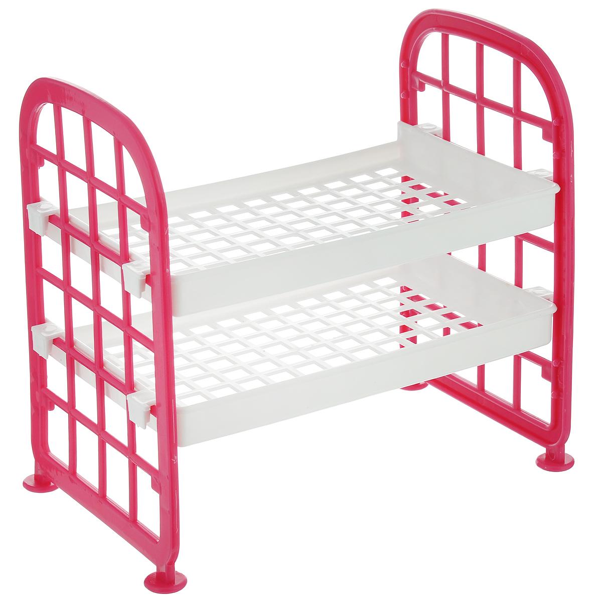 Этажерка Sima-land, 2-х ярусная, цвет: белый, розовый, 21 см х 14 см х 21 см862452_белый, розовыйЭтажерка Sima-land выполнена из высококачественного прочного пластика в виде двухъярусной кровати. Содержит 2 прямоугольные полки, оформленные перфорацией в виде квадратов. Этажерка предназначена для хранения различных бытовых предметов в ванне, комнате и на кухне. Легко складывается и раскладывается. Размер этажерки (ДхШхВ): 21 см х 14 см х 21 см. Размер полки (ДхШхВ): 21 см х 14 см х 2 см.