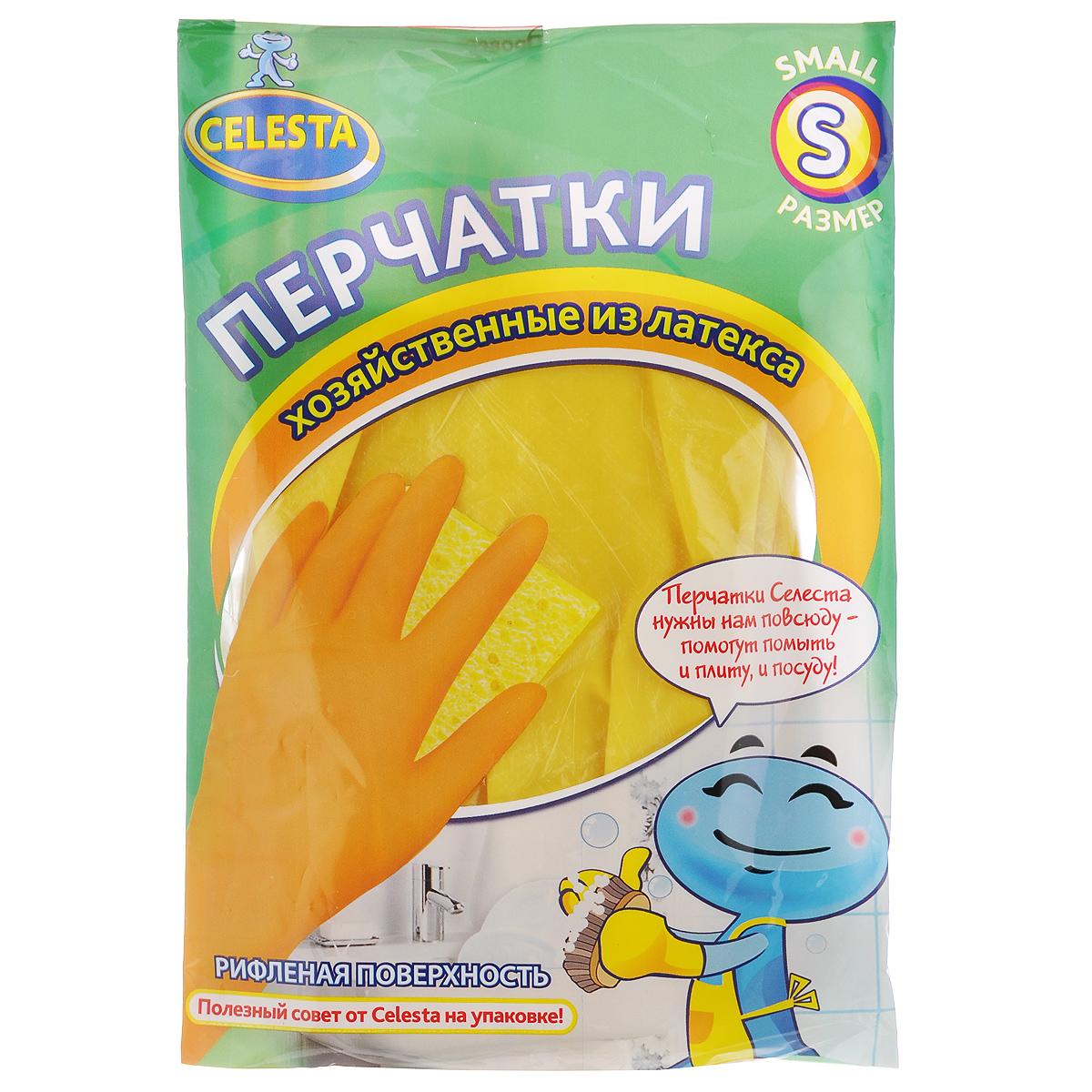 Перчатки хозяйственные Celesta, цвет: желтый. Размер S558 S_желтыйУниверсальные перчатки Celesta произведены из высококачественного латекса, рифленая поверхность позволяет удерживать мокрые предметы. Перчатки подходят для различных видов домашних работ. Перчатки эластичны, хорошо облегают руку.