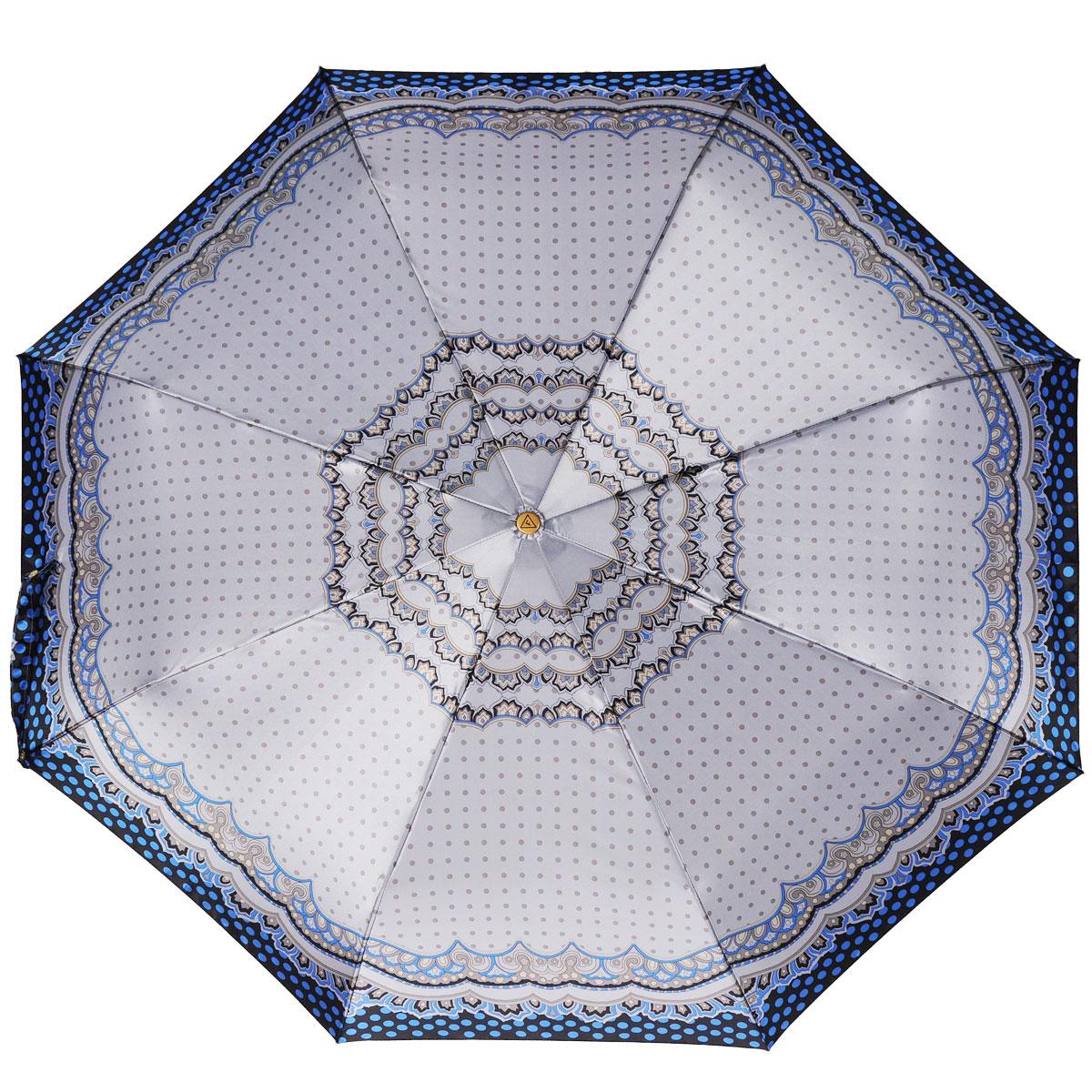 Зонт-автомат женский Fabretti, 3 сложения, цвет: серый, синий. S-15100-6Fabretti S-15100-6Классический зонт торговой марки Fabretti, изготовленный из качественных материалов, идеально подойдет для девушек и женщин любых возрастов. Купол зонтика выполнен из полиэстера, обработанного водоотталкивающей пропиткой, и оформлен орнаментом в горох. Каркас зонта изготовлен из восьми металлических спиц, стержня и ручки с полиуретановым покрытием, разработанной с учетом эргономических требований. Зонт оснащен полным автоматическим механизмом в три сложения. Купол открывается и закрывается нажатием кнопки на рукоятке, благодаря чему открыть и закрыть зонт можно одной рукой, что чрезвычайно удобно при входе в транспорт или помещение, стержень складывается вручную до характерного щелчка. Рукоятка зонта для удобства оснащена шнурком-резинкой, позволяющим при необходимости надеть зонт на руку. Компактные размеры зонта в сложенном виде позволят ему без труда поместиться в сумочке. Зонт поставляется в чехле на молнии. Женский зонт Fabretti не только...