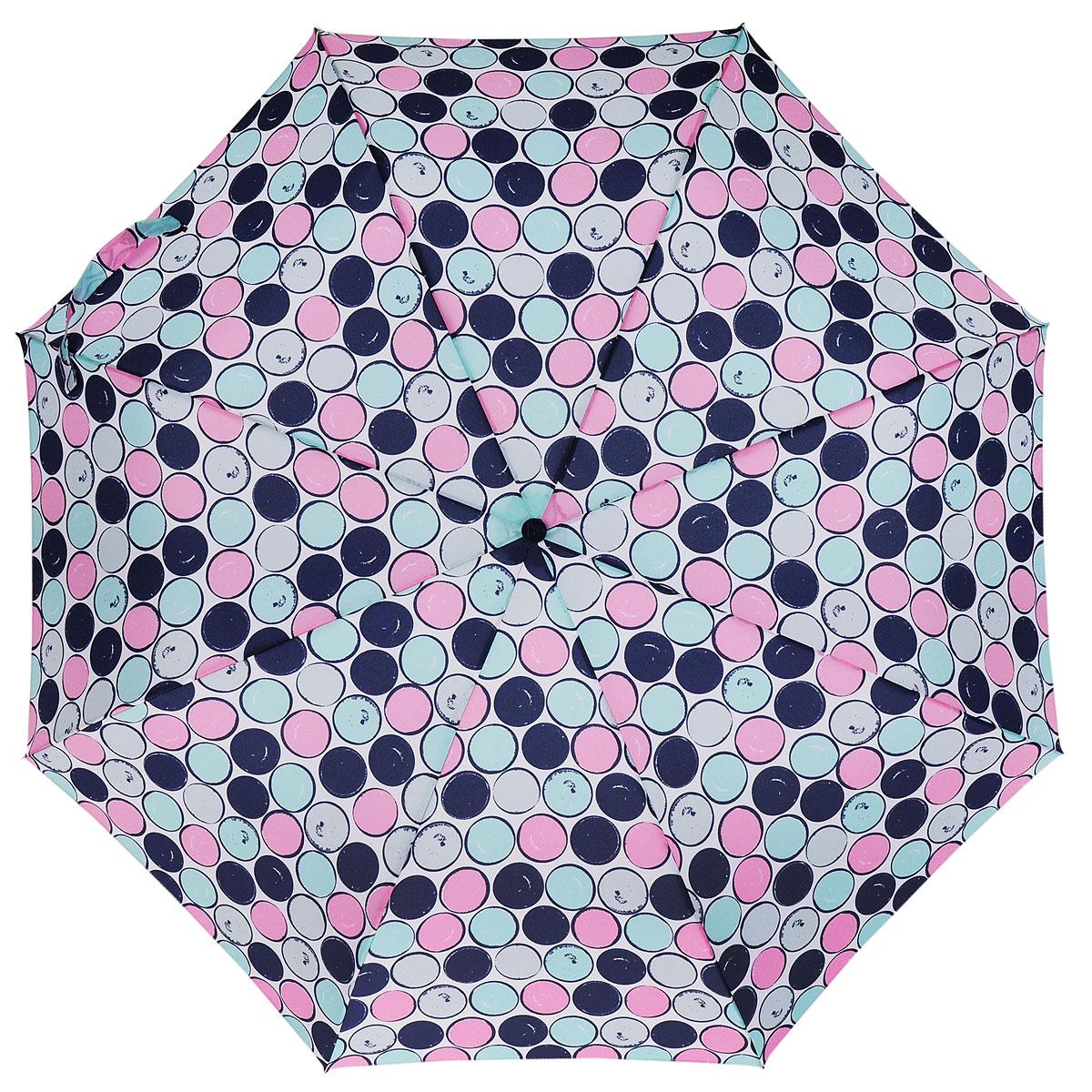 Зонт женский Fulton Minilite, механический, 3 сложения, цвет: белый. L354-2766L354-2766Очаровательный механический зонт Fulton Minilite в 3 сложения изготовлен из высокопрочных материалов. Каркас зонта состоит из 8 спиц и прочного алюминиевого стержня. Купол зонта выполнен из прочного полиэстера с водоотталкивающей пропиткой и оформлен принтом в виде разноцветных кружков. Рукоятка изготовлена из пластика. Зонт имеет механический механизм сложения купол открывается и закрывается вручную до характерного щелчка. Небольшой шнурок, расположенный на рукоятке, позволяет надеть изделие на руку при необходимости. Модель закрывается при помощи хлястика на липучку. К зонту прилагается чехол. Прелестный зонт не только выручит вас в ненастную погоду, но и станет стильным аксессуаром, прекрасно дополнит ваш модный образ.