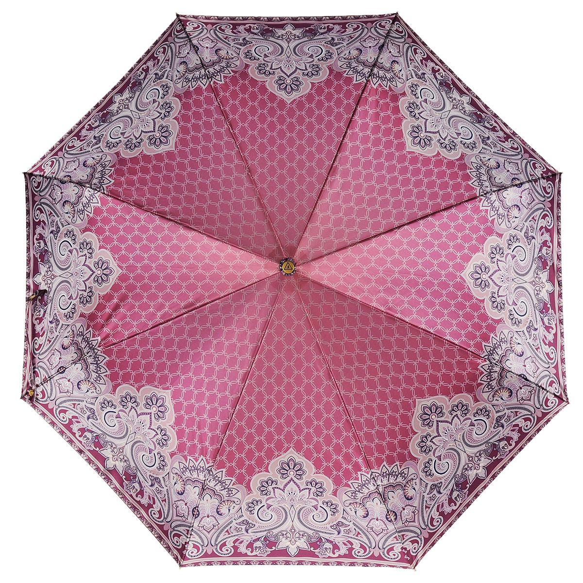 Зонт-автомат женский Fabretti, 3 сложения, цвет: бордовый, бежевый. S-15102-1 - FabrettiFabretti S-15102-1Классический зонт торговой марки Fabretti, выполненный из качественных материалов, идеально подойдет для девушек и женщин любых возрастов. Купол зонтика изготовлен из полиэстера, обработанного водоотталкивающей пропиткой, и оформлен изящным орнаментом. Каркас зонта выполнен из восьми металлических спиц, стержня и ручки с полиуретановым покрытием, разработанной с учетом требований эргономики. Зонт оснащен полным автоматическим механизмом в три сложения. Купол открывается и закрывается нажатием кнопки на рукоятке, благодаря чему открыть и закрыть зонт можно одной рукой, что чрезвычайно удобно при входе в транспорт или помещение, стержень складывается вручную до характерного щелчка. На рукоятке для удобства есть небольшой шнурок-резинка, позволяющий надеть зонт на руку тогда, когда это будет необходимо. Компактные размеры зонта в сложенном виде позволят ему без труда поместиться в сумочке и не доставят никаких проблем во время переноски. К зонту прилагается...