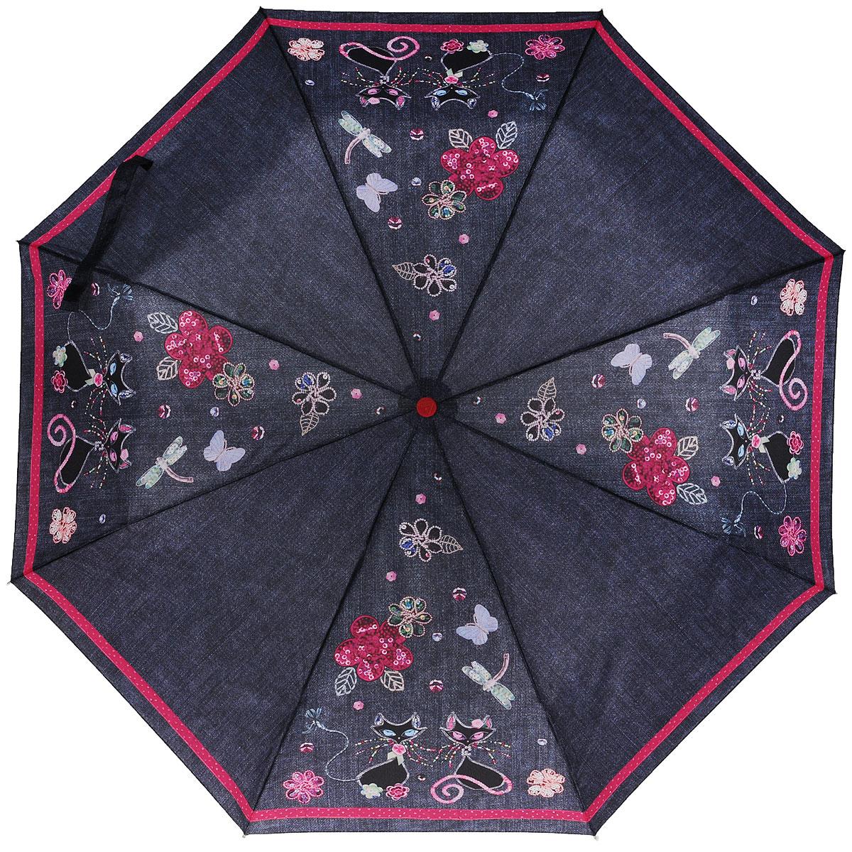 Зонт-автомат женский Fulton, 3 сложения, цвет: серый, розовый. R346-1348R346-1348Оригинальный зонт-автомат Fulton с интересным дизайном произведен из высококачественных материалов. Каркас зонта изготовлен из восьми алюминиевых спиц, стержня из стали и матовой ручки из пластика красного цвета. Купол зонтика выполнен из полиэстера, в джинсовом стиле и оформлен изображением кошечек. Закрытый купол фиксируется хлястиком на липучке. Зонт оснащен автоматическим механизмом в три сложения. Купол открывается и закрывается нажатием кнопки на рукоятке, благодаря чему открыть и закрыть зонт можно одной рукой, что очень удобно при входе в транспорт или помещение, стержень складывается вручную до характерного щелчка. Рукоятка зонта для удобства оснащена шнурком, позволяющим при необходимости надеть зонт на руку. Благодаря компактным размерам зонта в сложенном виде, можно без труда поместить его в сумочку. Зонт поставляется в чехле. Женский зонт Fulton станет для вас модным и стильным аксессуаром в ненастную погоду.