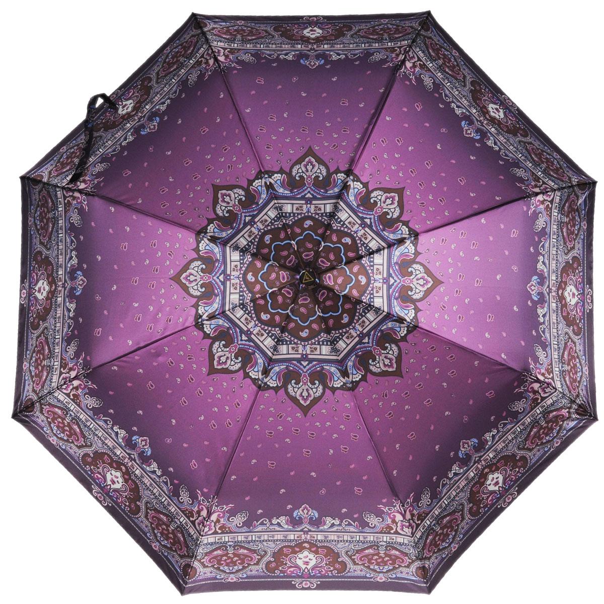 Зонт-автомат женский Fabretti, 3 сложения, цвет: фиолетовый, коричневый, бежевый. S-15109-5Fabretti S-15109-5Классический зонт торговой марки Fabretti, произведенный из качественных материалов, идеально подойдет для женщин. Купол зонтика выполнен из полиэстера, обработанного водоотталкивающей пропиткой, и оформлен изящным орнаментом. Каркас зонта выполнен из восьми металлических спиц, стержня и ручки с полиуретановым покрытием, разработанной с учетом требований эргономики. Зонт оснащен полным автоматическим механизмом в три сложения. Купол открывается и закрывается нажатием кнопки на рукоятке, благодаря чему открыть и закрыть зонт можно одной рукой, что чрезвычайно удобно при входе в транспорт или помещение, стержень складывается вручную до характерного щелчка. На рукоятке для удобства есть небольшой шнурок, позволяющий надеть зонт на руку тогда, когда это будет необходимо. Компактные размеры зонта в сложенном виде позволят ему без труда поместиться в сумочке и не доставят никаких проблем во время переноски. К зонту прилагается чехол на молнии. Женский...
