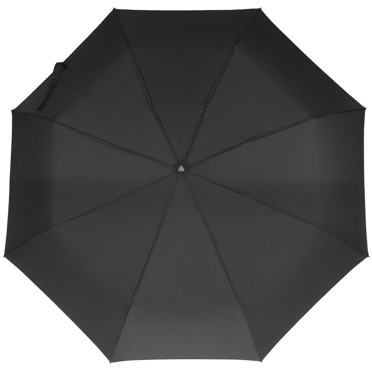Зонт-автомат мужской Fabretti, 3 сложения, цвет: черный. M-1404Fabretti M-1404Автоматический зонт торговой марки Fabretti, произведенный из качественных материалов, станет необходимым аксессуаром для каждого мужчины. Купол зонтика черного цвета выполнен из полиэстера, обработанного водоотталкивающей пропиткой. Каркас зонта изготовлен из восьми металлических спиц, стержня и ручки с полиуретановым покрытием, разработанной с учетом эргономических требований. Зонт оснащен автоматическим механизмом в три сложения. Купол открывается и закрывается нажатием кнопки на рукоятке, благодаря чему открыть и закрыть зонт можно одной рукой, что очень удобно при входе в транспорт или помещение, стержень складывается вручную до характерного щелчка. Рукоятка зонта для удобства оснащена шнурком, позволяющим при необходимости надеть зонт на руку. В сложенном виде зонт компактен, поставляется в чехле. Мужской зонт Fabretti не только выручит вас в ненастную погоду, но и подчеркнет вашу индивидуальность.
