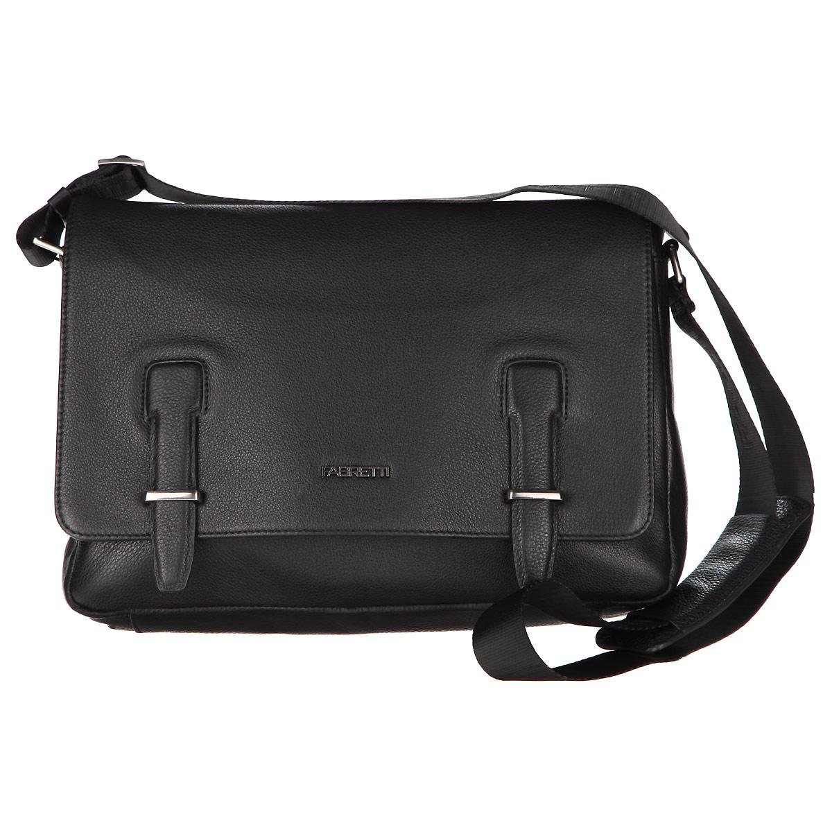 Сумка мужская Fabretti, цвет: черный. 6639FAB-B6639FAB-B blackСтильная мужская сумка Fabretti изготовлена из натуральной кожи. Модель имеет одно основное отделение, которое закрывается клапаном на магнитный замок. Внутри имеется два накладных открытых кармашка для телефона и мелочей, два держателя для авторучки и мягкий карман для планшета или небольшого ноутбука, который закрывается хлястиком на липучку. Снаружи на передней стенке под клапаном располагается карман на магнитной кнопке. На задней стенке имеется прорезной карман на застежке-молнии. Изделие оснащено текстильным плечевым ремнем, который регулируется по длине. Сумка упакована в фирменный чехол. Сумка Fabretti - идеальный выбор успешного делового мужчины.