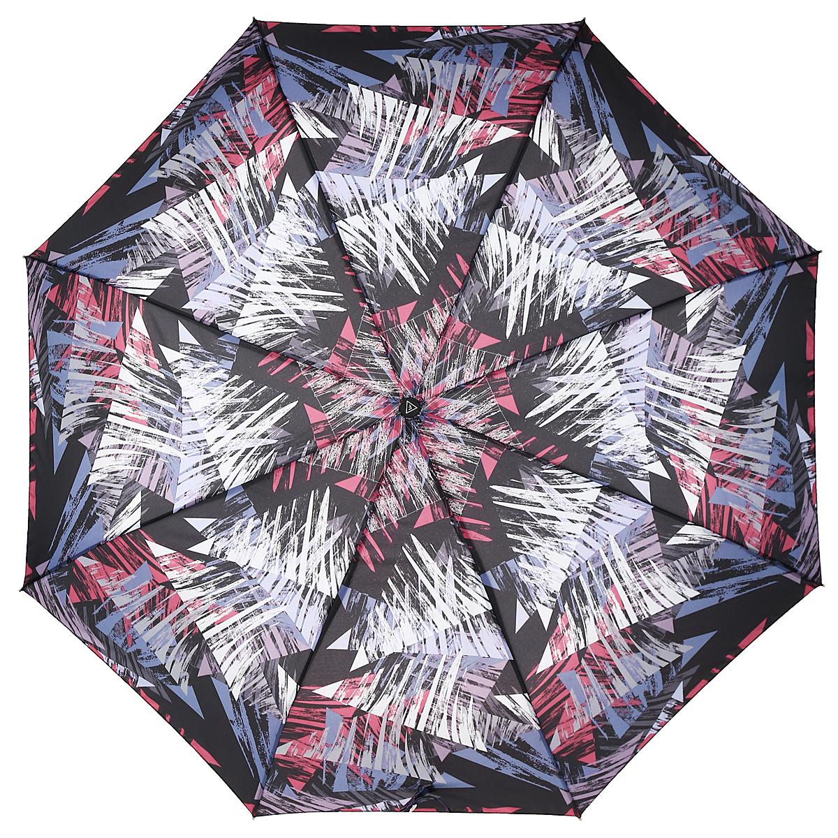 Зонт-автомат женский Fabretti, 3 сложения, цвет: черный, розовый, фиолетовый. L-15114-3Fabretti L-15114-3Автоматический зонт торговой марки Fabretti, произведенный из качественных материалов, станет стильным аксессуаром для девушек и женщин любых возрастов. Купол зонтика выполнен из полиэстера, обработанного водоотталкивающей пропиткой, и оформлен ярким орнаментом. Каркас зонта изготовлен из восьми металлических спиц, стержня и ручки с полиуретановым покрытием, разработанной с учетом эргономических требований. Зонт оснащен автоматическим механизмом в три сложения. Купол открывается и закрывается нажатием кнопки на рукоятке, благодаря чему открыть и закрыть зонт можно одной рукой, что очень удобно при входе в транспорт или помещение, стержень складывается вручную до характерного щелчка. Рукоятка зонта для удобства оснащена шнурком, позволяющим при необходимости надеть зонт на руку. Благодаря компактным размерам зонта в сложенном виде, можно без труда поместить его в сумочку. Зонт поставляется в чехле. Женский зонт Fabretti не только выручит вас в...