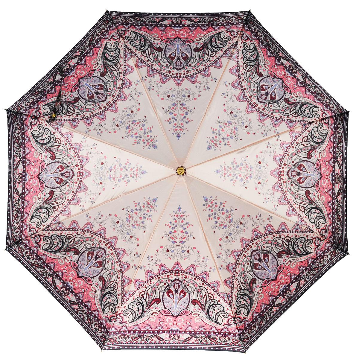 Зонт-автомат женский Fabretti, 3 сложения, цвет: бежевый, розовый, сиреневый. S-15100-1Fabretti S-15100-1Классический зонт торговой марки Fabretti, произведенный из качественных материалов, идеально подойдет для девушек и женщин любых возрастов. Купол зонтика выполнен из полиэстера, обработанного водоотталкивающей пропиткой, и оформлен изящным орнаментом. Каркас зонта выполнен из восьми металлических спиц, стержня и ручки с полиуретановым покрытием, разработанной с учетом требований эргономики. Зонт оснащен полным автоматическим механизмом в три сложения. Купол открывается и закрывается нажатием кнопки на рукоятке, благодаря чему открыть и закрыть зонт можно одной рукой, что чрезвычайно удобно при входе в транспорт или помещение, стержень складывается вручную до характерного щелчка. На рукоятке для удобства есть небольшой шнурок-резинка, позволяющий надеть зонт на руку тогда, когда это будет необходимо. Компактные размеры зонта в сложенном виде позволят ему без труда поместиться в сумочке и не доставят никаких проблем во время переноски. Зонт поставляется в...