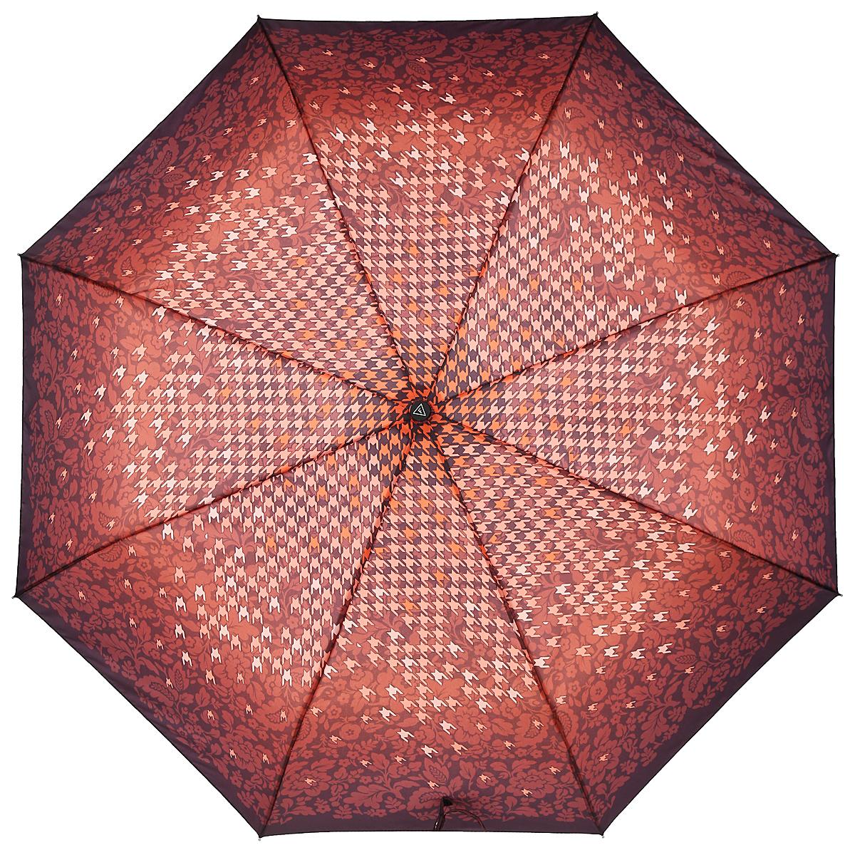 Зонт-автомат женский Fabretti, 3 сложения, цвет: коричневый, оранжевый. L-15114-5Fabretti L-15114-5Классический зонт торговой марки Fabretti, изготовленный из качественных материалов, идеально подойдет для девушек и женщин любых возрастов. Купол зонтика выполнен из полиэстера, обработанного водоотталкивающей пропиткой, и оформлен ярким орнаментом. Каркас зонта изготовлен из восьми металлических спиц, стержня и ручки с полиуретановым покрытием, разработанной с учетом эргономических требований. Зонт оснащен полным автоматическим механизмом в три сложения. Купол открывается и закрывается нажатием кнопки на рукоятке, благодаря чему открыть и закрыть зонт можно одной рукой, что чрезвычайно удобно при входе в транспорт или помещение, стержень складывается вручную до характерного щелчка. Рукоятка зонта для удобства оснащена шнурком, позволяющим при необходимости надеть зонт на руку. Компактные размеры зонта в сложенном виде позволят ему без труда поместиться в сумочке. Зонт поставляется в чехле. Женский зонт Fabretti не только выручит вас в...
