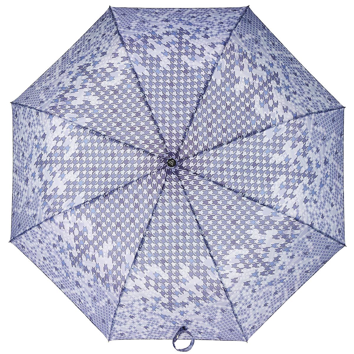 Зонт-автомат женский Fabretti, 3 сложения, цвет: сиреневый. L-15114-4Fabretti L-15114-4Классический зонт торговой марки Fabretti, изготовленный из качественных материалов, идеально подойдет для девушек и женщин любых возрастов. Купол зонтика выполнен из полиэстера, обработанного водоотталкивающей пропиткой, и оформлен ярким орнаментом. Каркас зонта изготовлен из восьми металлических спиц, стержня и ручки с полиуретановым покрытием, разработанной с учетом эргономических требований. Зонт оснащен полным автоматическим механизмом в три сложения. Купол открывается и закрывается нажатием кнопки на рукоятке, благодаря чему открыть и закрыть зонт можно одной рукой, что чрезвычайно удобно при входе в транспорт или помещение, стержень складывается вручную до характерного щелчка. Рукоятка зонта для удобства оснащена шнурком, позволяющим при необходимости надеть зонт на руку. Компактные размеры зонта в сложенном виде позволят ему без труда поместиться в сумочке. Зонт поставляется в чехле. Женский зонт Fabretti не только выручит вас в...
