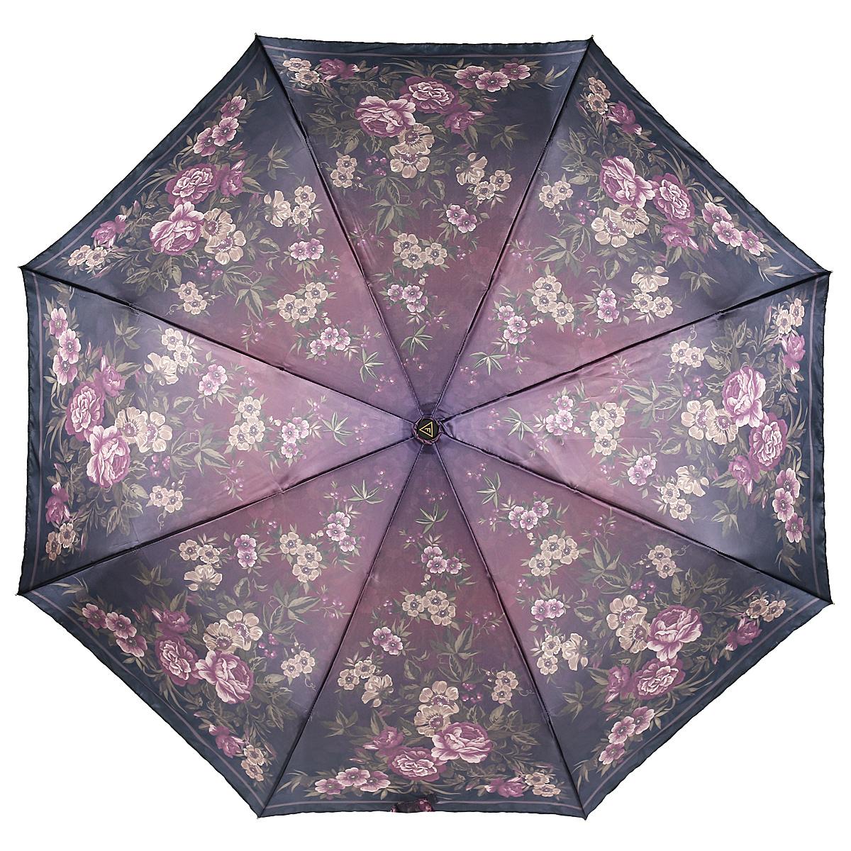 Зонт-автомат женский Fabretti, 3 сложения, цвет: фиолетовый, темно-зеленый. S-15107-6Fabretti S-15107-6Классический зонт торговой марки Fabretti, произведенный из качественных материалов, идеально подойдет для женщин. Купол зонтика выполнен из полиэстера, обработанного водоотталкивающей пропиткой, и оформлен цветочным принтом. Каркас зонта выполнен из восьми металлических спиц, стержня и ручки с полиуретановым покрытием, разработанной с учетом требований эргономики. Зонт оснащен полным автоматическим механизмом в три сложения. Купол открывается и закрывается нажатием кнопки на рукоятке, благодаря чему открыть и закрыть зонт можно одной рукой, что чрезвычайно удобно при входе в транспорт или помещение, стержень складывается вручную до характерного щелчка. На рукоятке для удобства есть небольшой шнурок, позволяющий надеть зонт на руку тогда, когда это будет необходимо. Компактные размеры зонта в сложенном виде позволят ему без труда поместиться в сумочке и не доставят никаких проблем во время переноски. К зонту прилагается чехол на молнии. Женский...