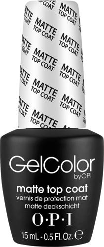 OPI Верхнее покрытие для созданя матового эффекта GelColor, 15 млGC031Матовое топовое покрытие надежно защищает ваши ногти от внешнего воздействия и придает маникюру матовый эффект. Топ наносится как лак, сушится в УФ-лампе или LED-аппарате, держится несколько недель.