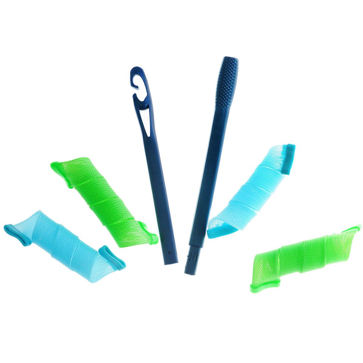 Бигуди широкие 30 см, цвет: голубой, зеленый. Ш30