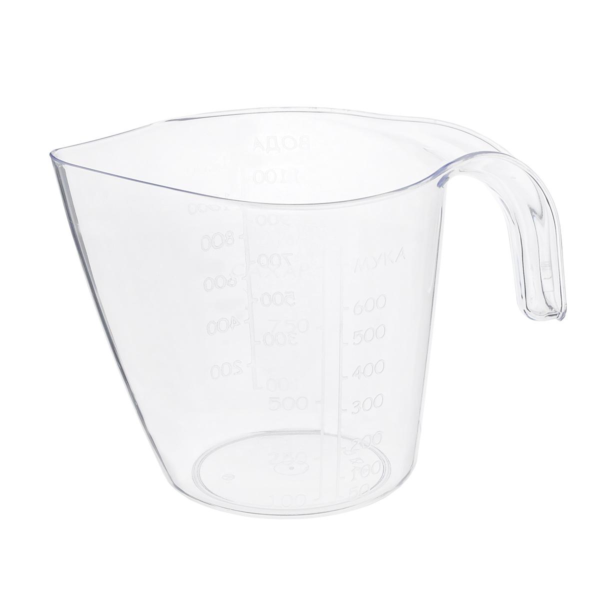 Кружка мерная Альтернатива, 1 лМ323Мерная кружка Альтернатива, выполненная из прозрачного пластика, поможет дозировать любые продукты и вещества. Устойчива к механическим повреждениям и агрессивным средам. На стенке кружки имеются отдельные мерные шкалы для муки, воды и сахара. Объем: 1 л.