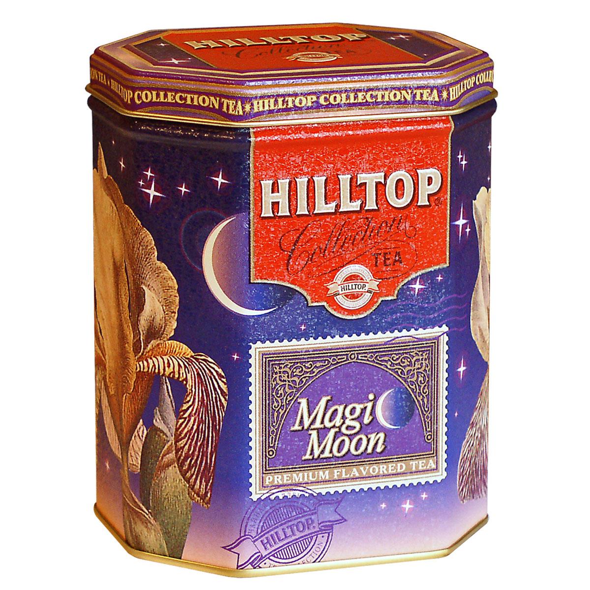 Hilltop Волшебная луна черный листовой чай, 100 г4607099300323Hilltop Волшебная луна - смесь черного и зеленого чая с лепестками календулы, розы, плодами шиповника, цукатами из папайи, дыни и абрикоса.