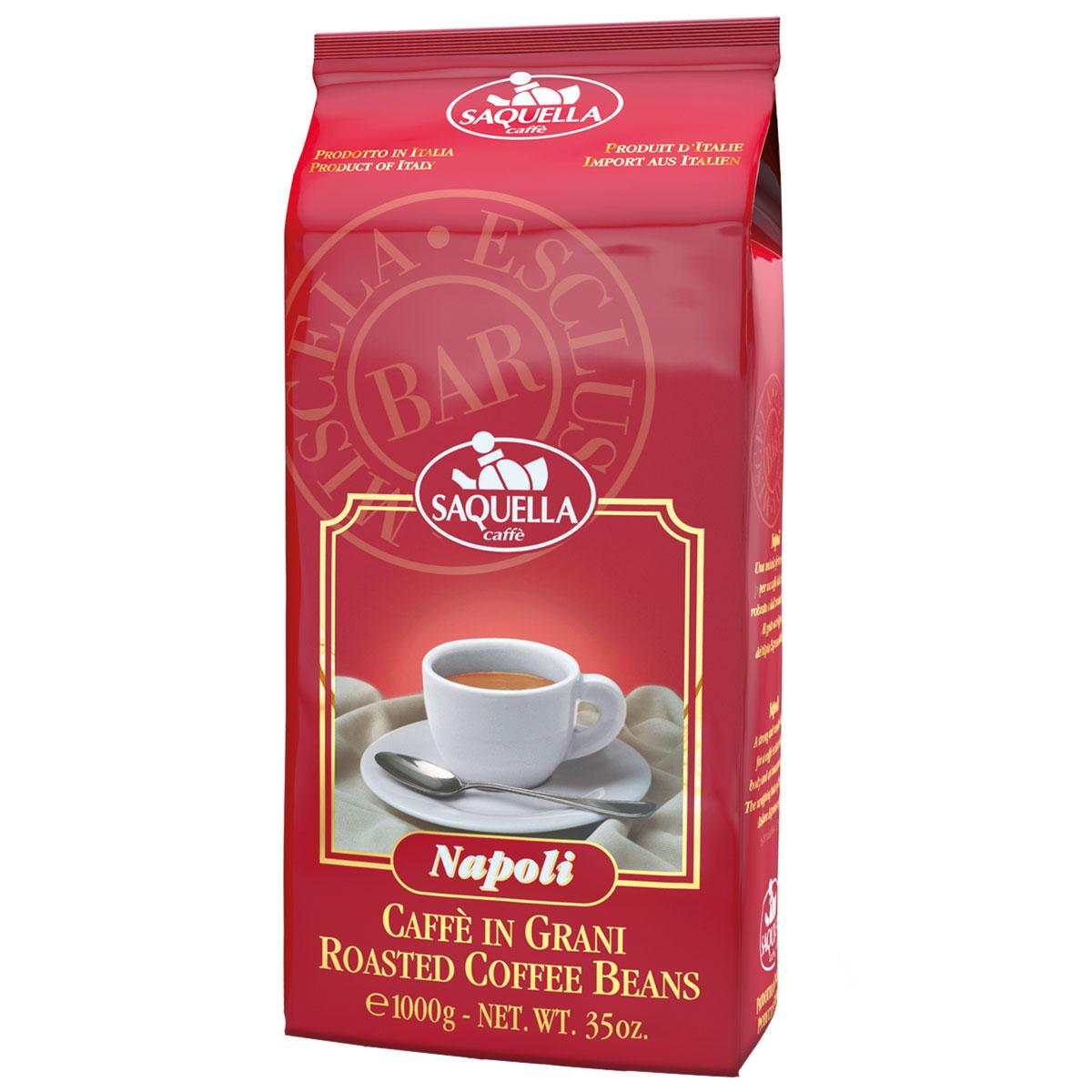 Saquella Napoli Bar кофе в зернах, 1000 г8002650004027Saquella Napoli BAR - несравненный сорт с интенсивным и насыщенным вкусом Южноамериканской арабики и Индонезийской робусты. Эта смесь имеет мягкое винное послевкусие и густую пенку. Благодаря низкому содержанию кофеина, напиток можно употреблять и в вечернее время.