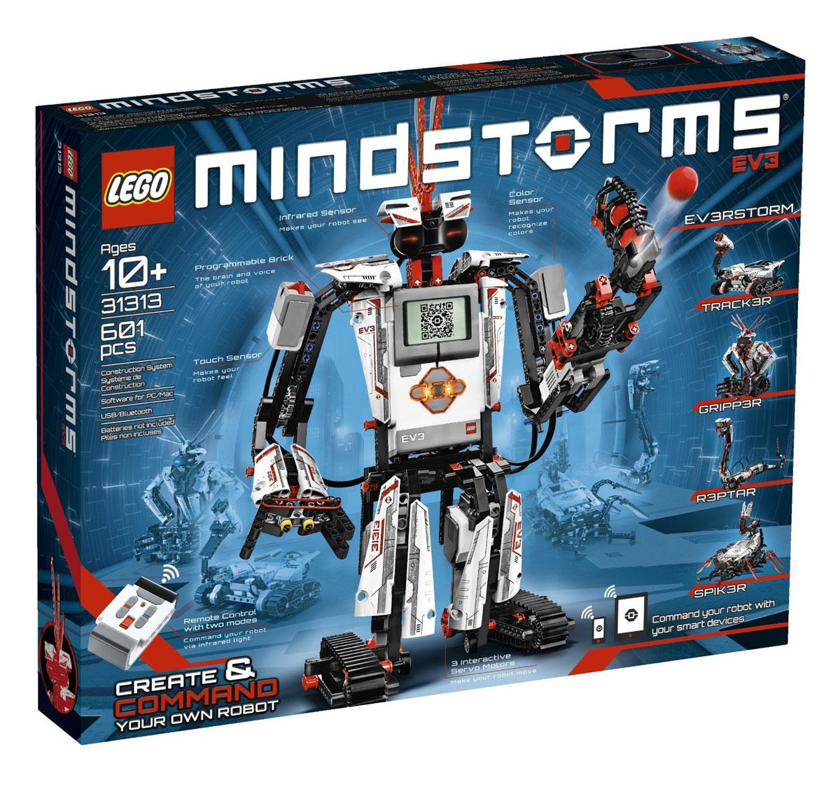 LEGO Mindstorms Конструктор EV3 3131331313Набор LEGO «Mindstorms EV3» порадует любого поклонника робототехники и конструирования. В комплект входит 601 элемент, позволяющий собрать различные модификации роботов, которые ходят, разговаривают, думают и делают все, что вы можете представить. Используя трехмерную пошаговую инструкцию по сборке, можно собрать роботов TRACK3R - вездеходного робота на гусеничном ходу, R3PTAR - робота ,похожего на кобру, SPIK3R - шестиногое создание с хвостом-молнией, EV3RSTORM - командира роботов и GRIPP3R - робота-качка, а затем оживить их при помощи простого, интуитивно понятного, построенного на пиктограммах интерфейса программирования. Возьмите прилагающийся пульт дистанционного управления и отправляйтесь выполнять задания по спланированным миссиям или скачивайте бесплатные приложения и командуйте своими роботами при помощи смартфона или планшета. В основе робота лежит модифицированный процессор с возможностью подключения сразу нескольких сенсоров и...