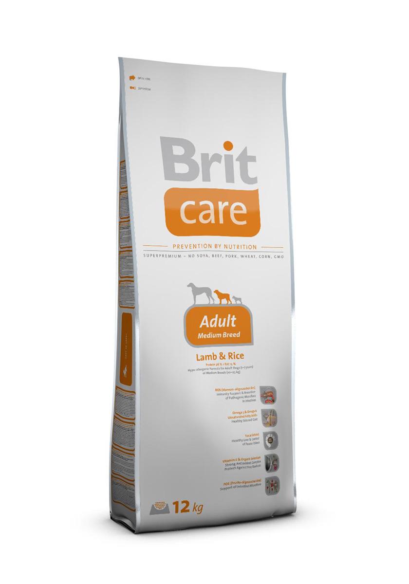 Корм сухой Brit Care Adult Medium Breed для собак средних пород, с ягненком и рисом, 12 кг100301Сухой корм Brit Care Adult Medium Breed - это полноценный рацион для собак средних пород. Экстракт юкки защищает кишечник и печень от токсичности аммиака и предотвращает разложение гемоглобина. Оптимальное соотношение Омега-3 и Омега-6 жирных кислот с органическим цинком и медью обеспечивает здоровое состояние кожи и улучшает качество шерсти. Состав: баранина, цыпленок, рис, куриный жир (консервированный при помощи токоферолов), жир лосося, натуральные ароматы, хлопья риса, сушеная мякоть репы, пивные дрожжи, сушеные яичные продукты, экстракт из юкки шидигеры, сушеные яблоки, минералы,глюкозоамин гидрохлорид, сульфат хондроитина, ДЛ-метионин, Л-лизин, олигосахарид маннана, фрукто-олигосахариды, сульфат пентогидрат меди, ниацин, кальций пантотенат, фолиевая кислота, хлорид холина, биотин, витамин А, витамин Д3, витамин Е. Аналитические составляющие: белки 26 %, жиры 15 %, влажность 10 %, сырая зола 7 %, клетчатка 2,5 %, кальций 1,6 %, фосфор 1,2 %. ...