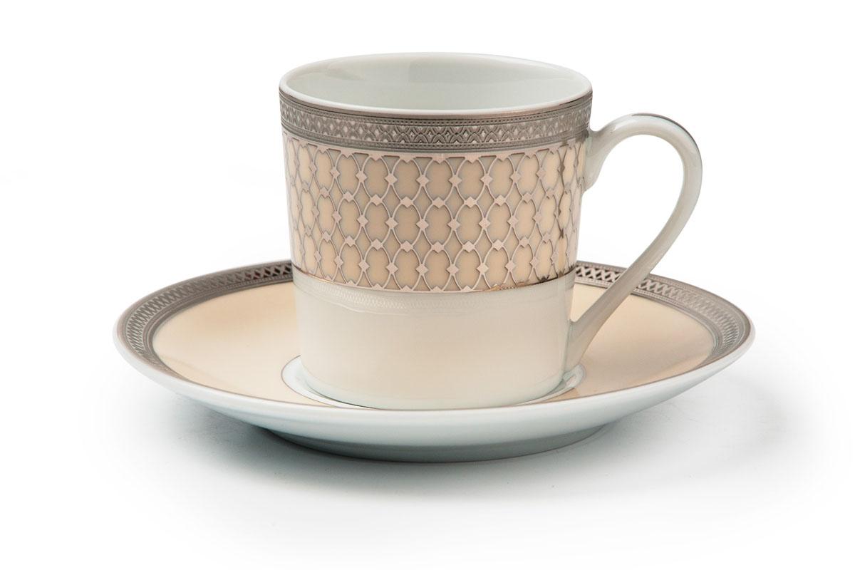 Tanite Victoir Platineatine 1489, набор кофейных пар (6шт), цвет: белый с платиной539012 1489Кофейная пара 120 мл * 6 штук/ 12 предметов